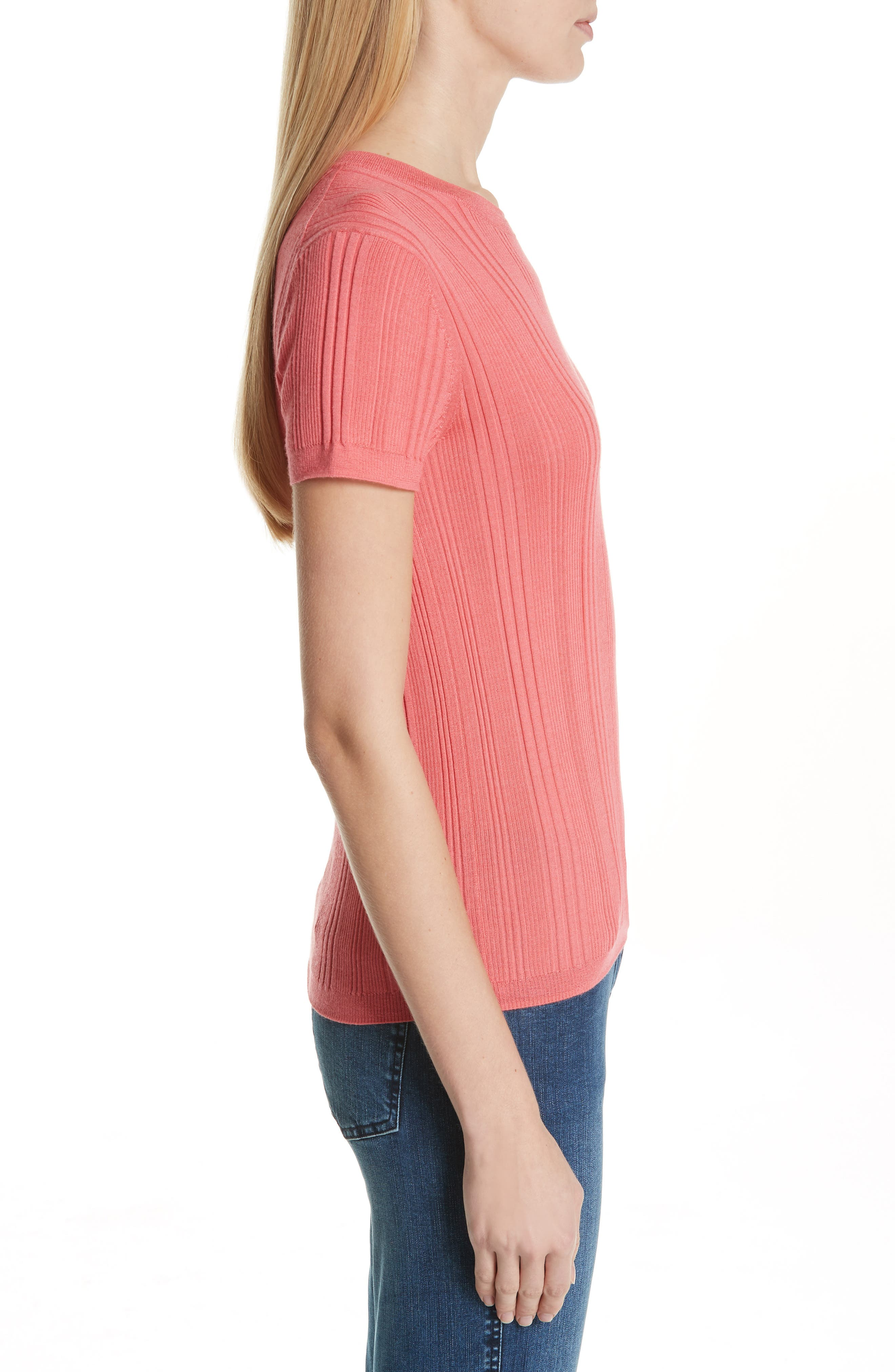 ,                             Superfine Variegated Rib Sweater,                             Alternate thumbnail 3, color,                             CORAL