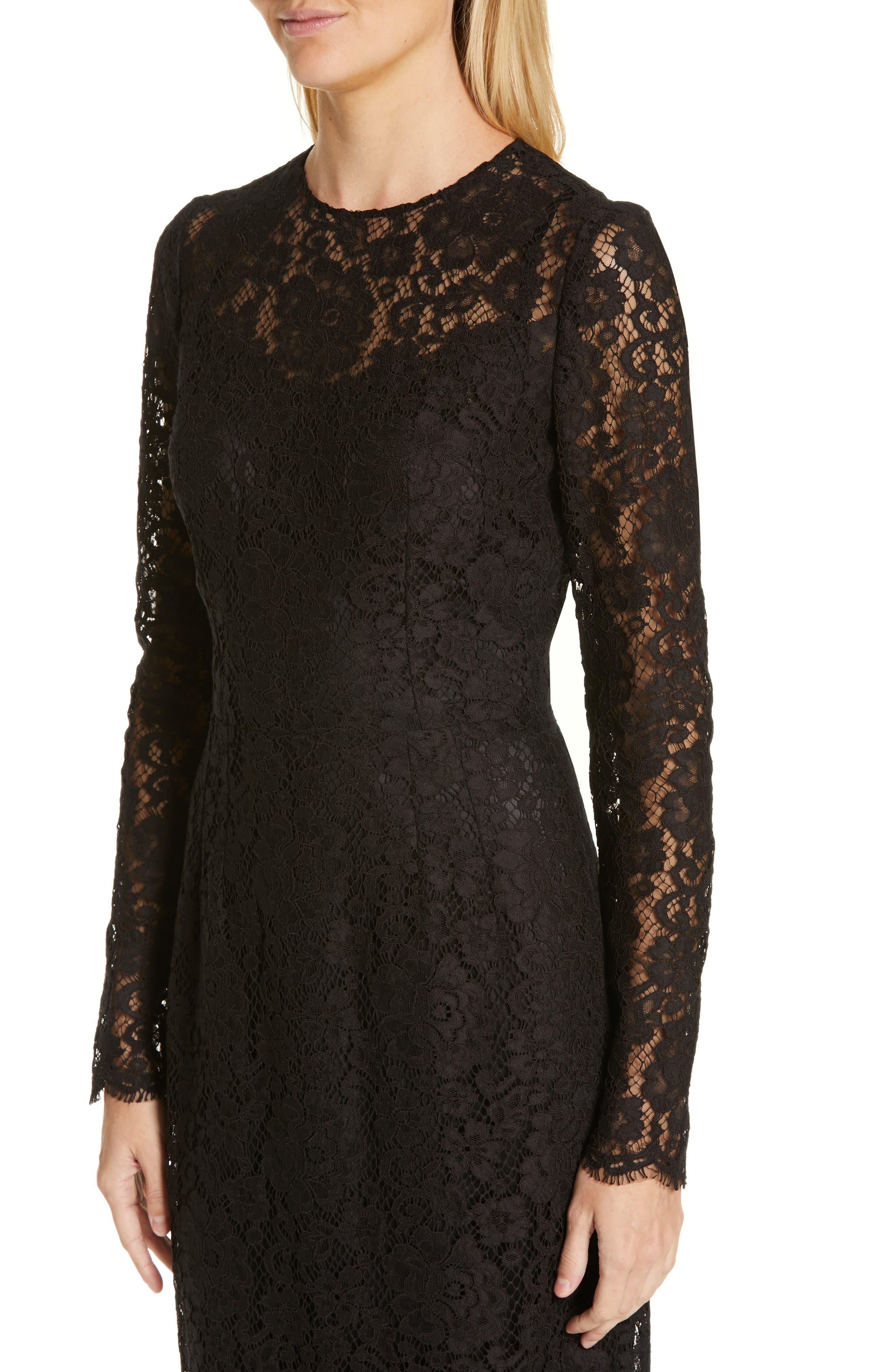 ,                             Lace Pencil Dress,                             Alternate thumbnail 5, color,                             BLACK