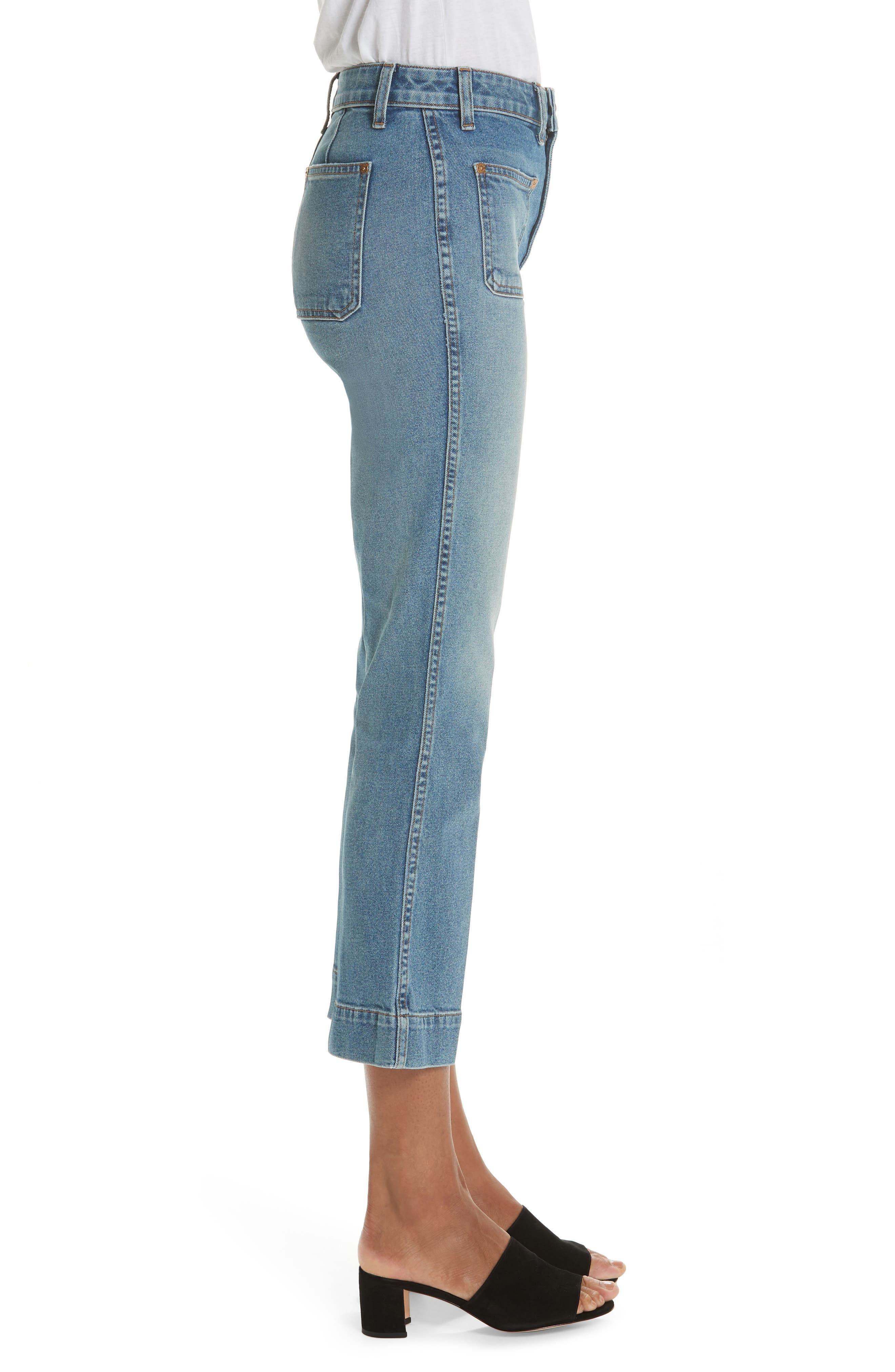 ,                             Raquel Crop Flare Jeans,                             Alternate thumbnail 3, color,                             VINTAGE BLUE