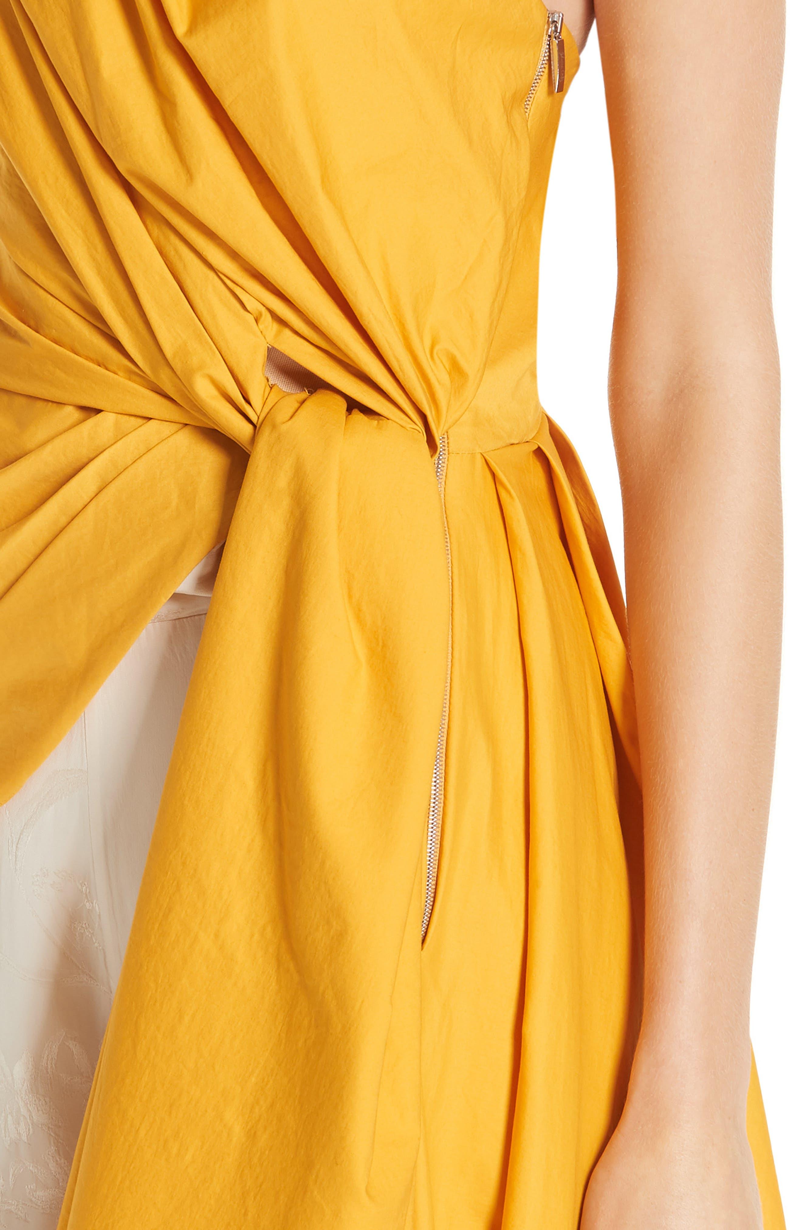 ,                             One-Shoulder Asymmetrical Stretch Poplin Top,                             Alternate thumbnail 4, color,                             DANDELION