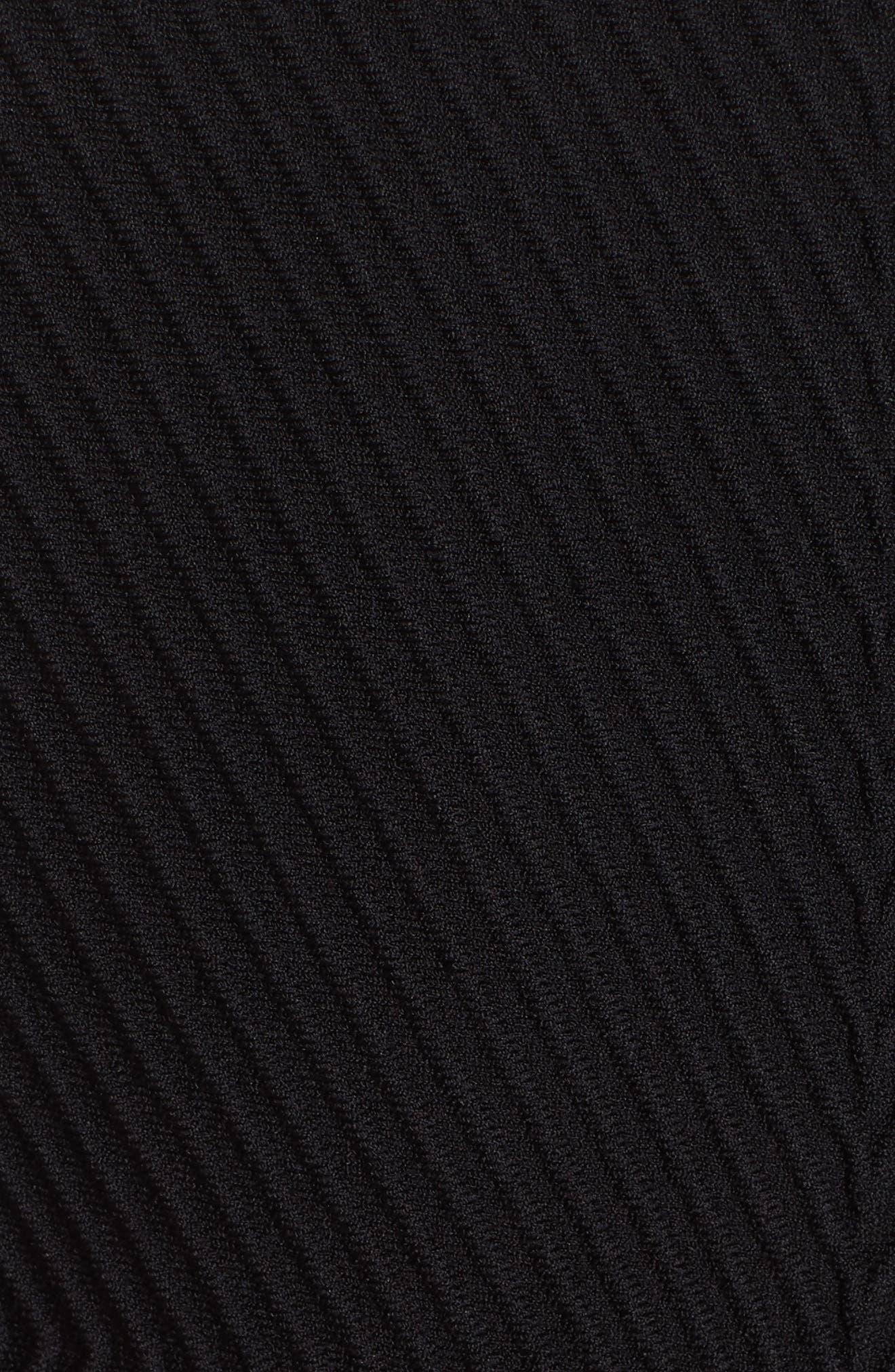 ,                             Rib Knit Peplum Jacket,                             Alternate thumbnail 5, color,                             NERO