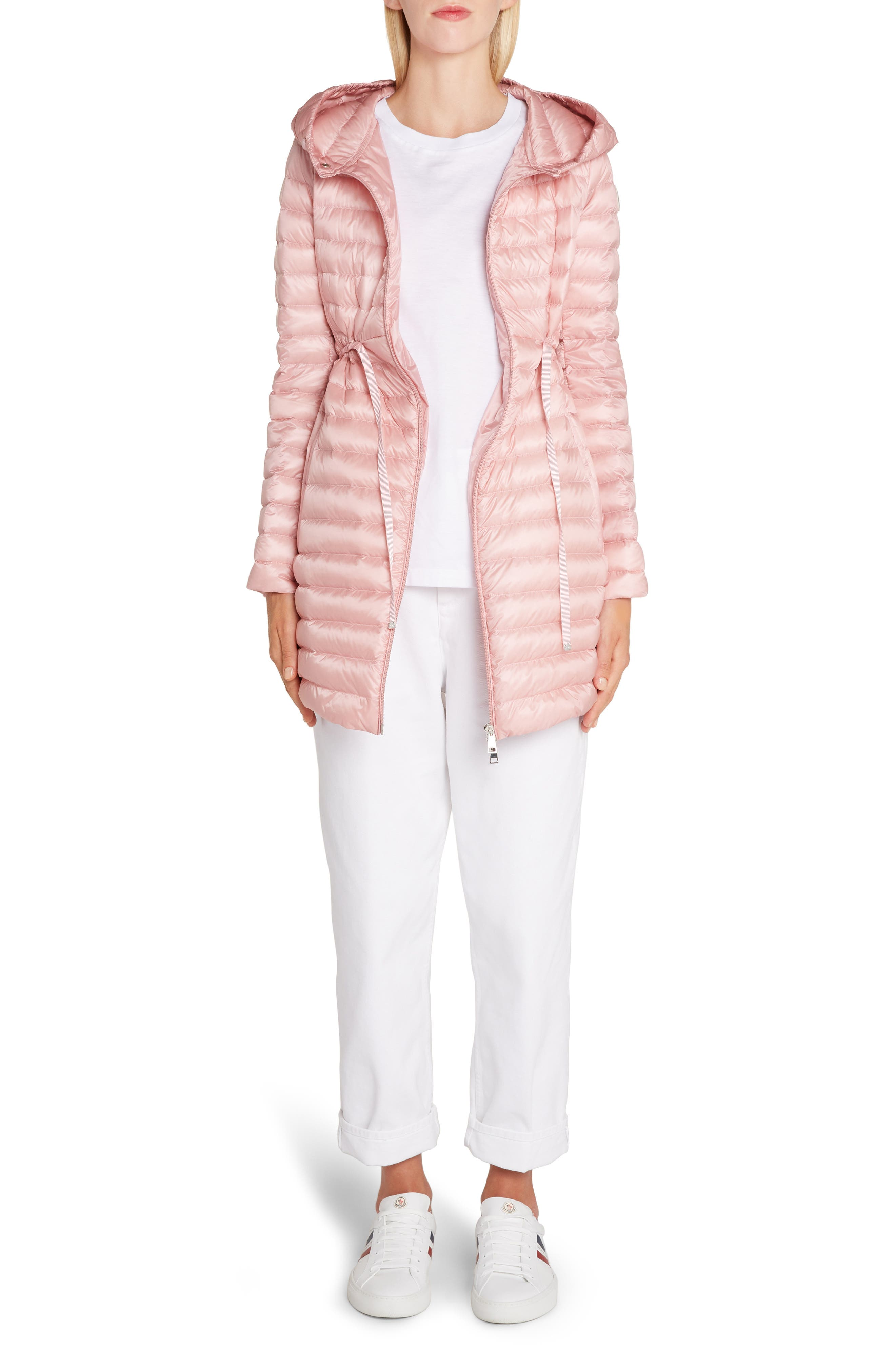 ,                             Barbel Tie Waist Hooded Down Coat,                             Alternate thumbnail 6, color,                             LIGHT PINK