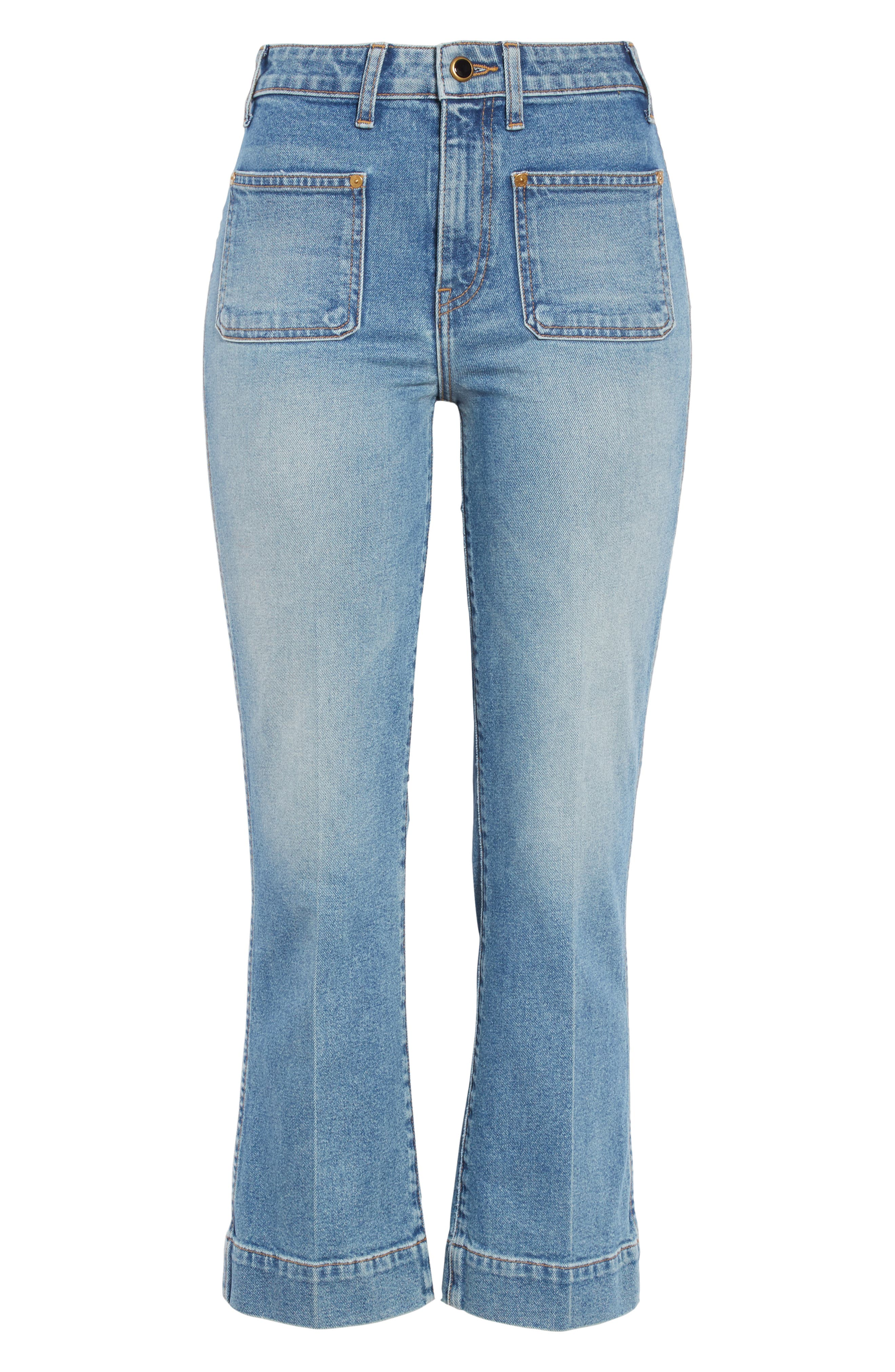 ,                             Raquel Crop Flare Jeans,                             Alternate thumbnail 6, color,                             VINTAGE BLUE