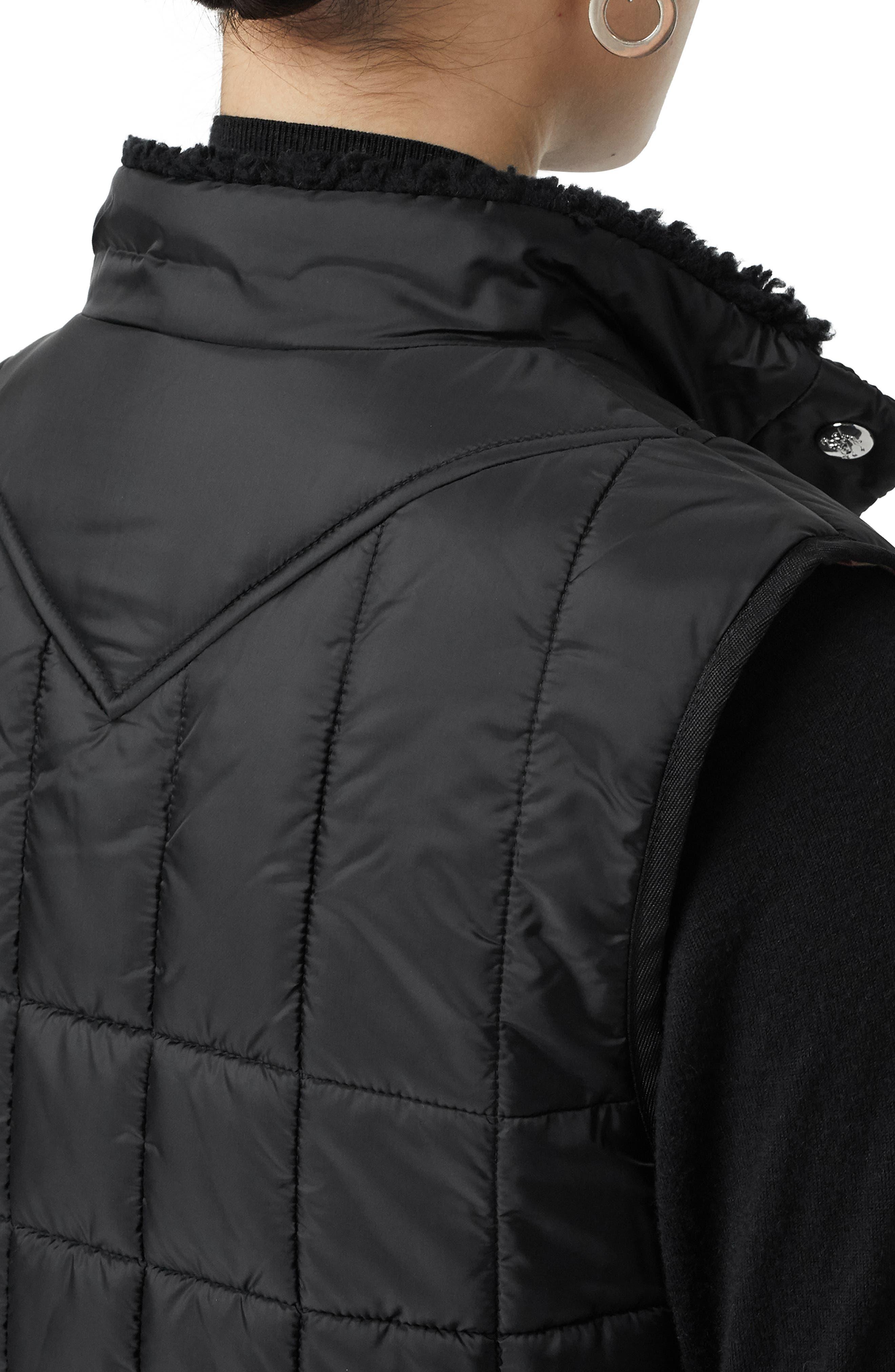,                             Leintune Faux Shearling Trim Quilted Vest,                             Alternate thumbnail 3, color,                             BLACK
