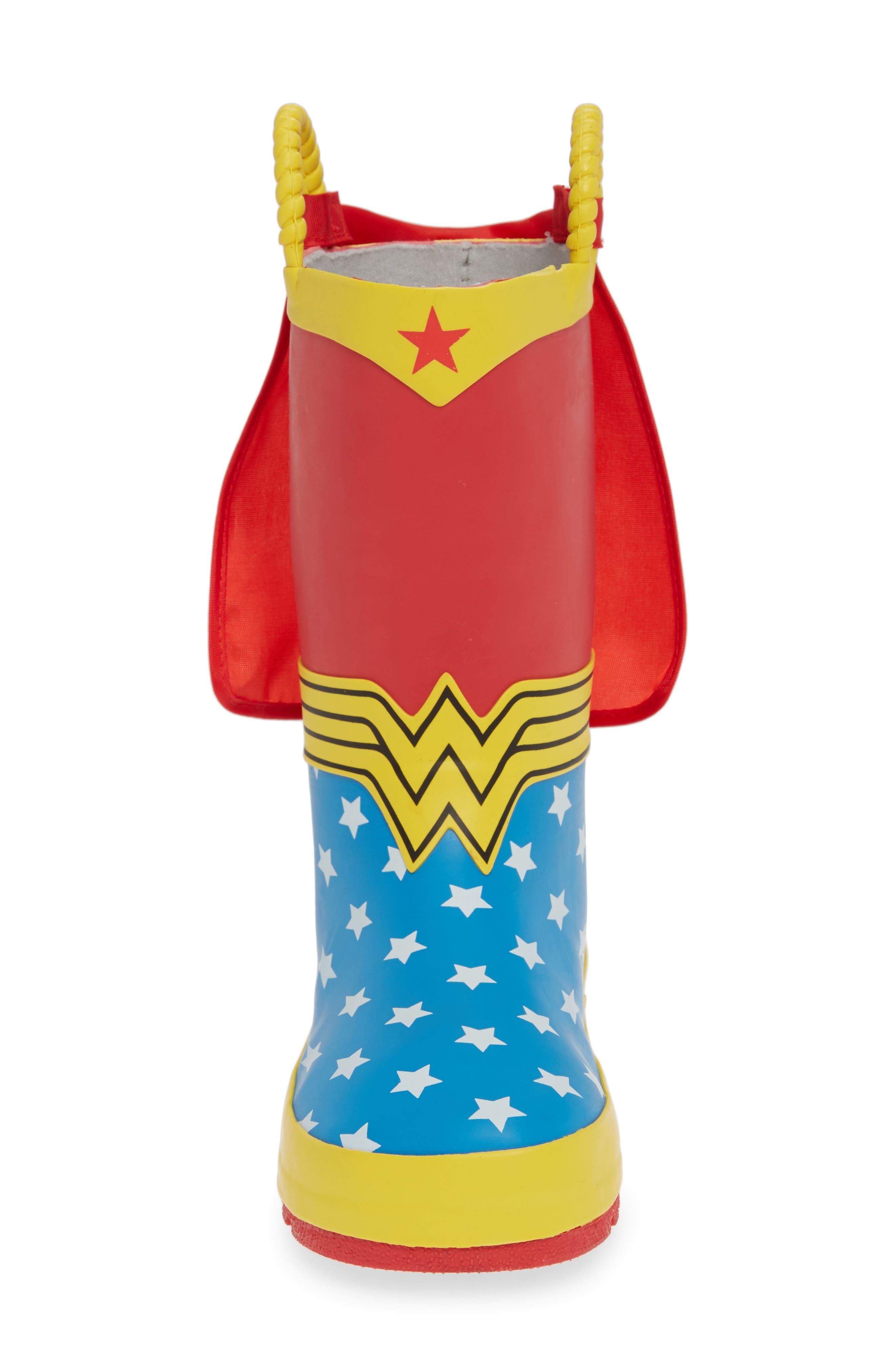 WESTERN CHIEF,                             Wonder Woman Waterproof Rain Boot,                             Alternate thumbnail 4, color,                             RED