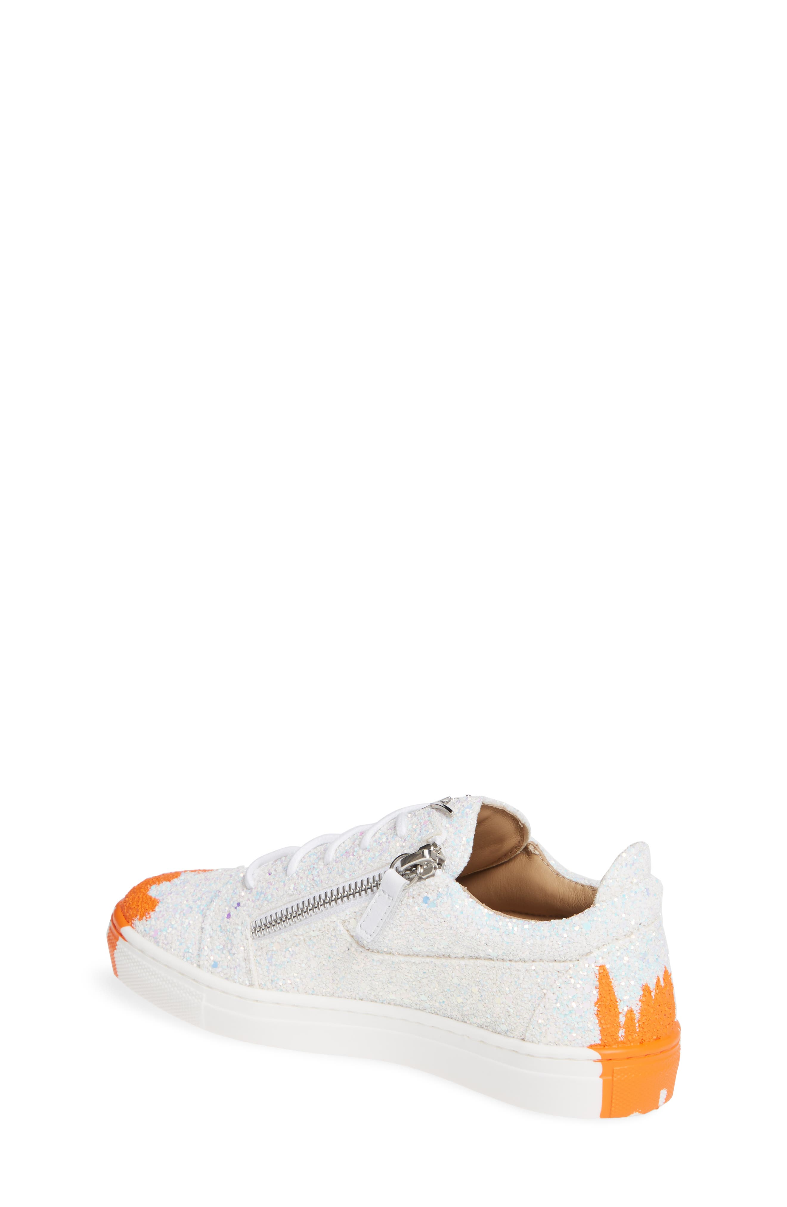 GIUSEPPE ZANOTTI,                             London Glitter Sneaker,                             Alternate thumbnail 2, color,                             MILK