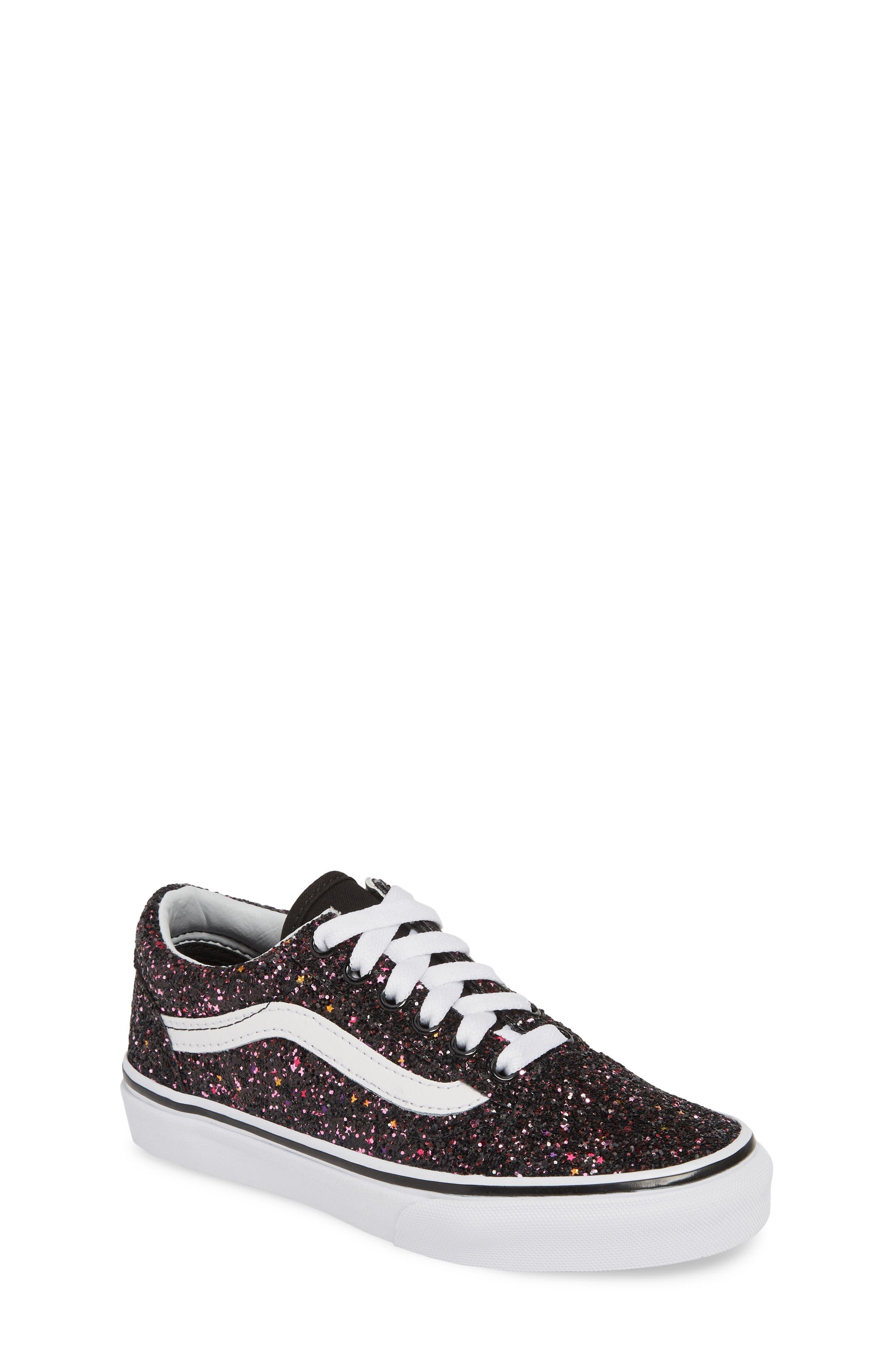 VANS,                             Old Skool Sneaker,                             Main thumbnail 1, color,                             GLITTER STARS BLACK/ WHITE