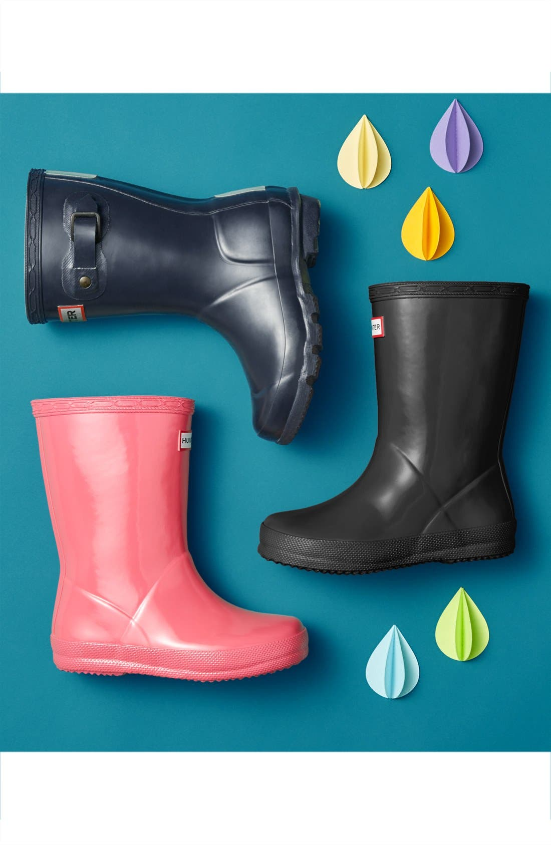 HUNTER,                             'First Gloss' Rain Boot,                             Alternate thumbnail 8, color,                             VIOLET