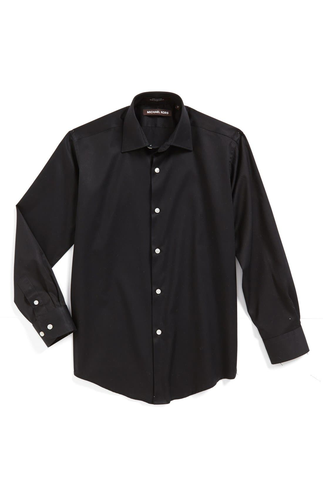 MICHAEL KORS Solid Dress Shirt, Main, color, BLACK