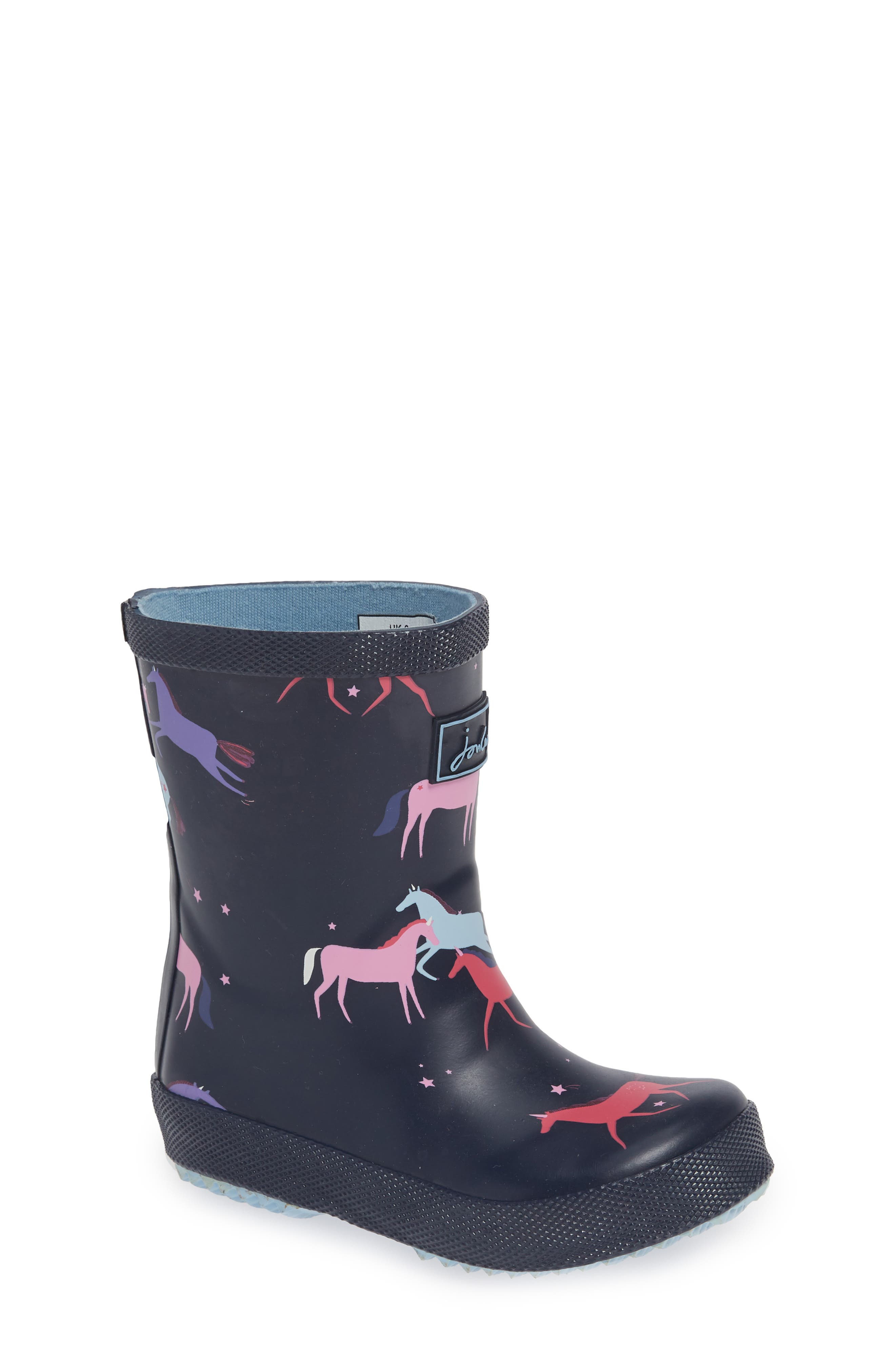 JOULES,                             Baby Welly Print Waterproof Boot,                             Main thumbnail 1, color,                             NAVY MAGICAL UNICORN