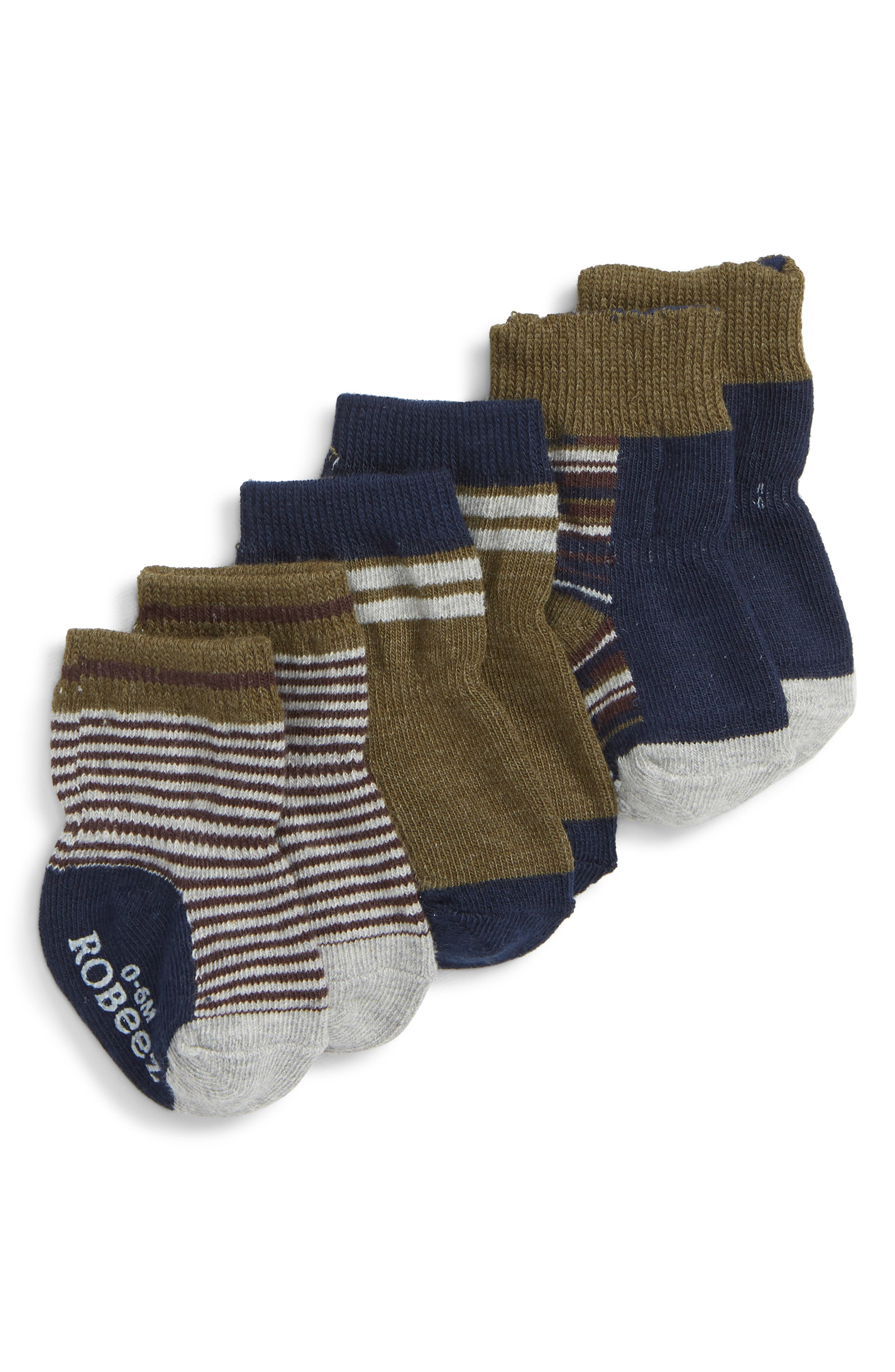 ROBEEZ<SUP>®</SUP>,                             3-Pack Crew Socks,                             Main thumbnail 1, color,                             020