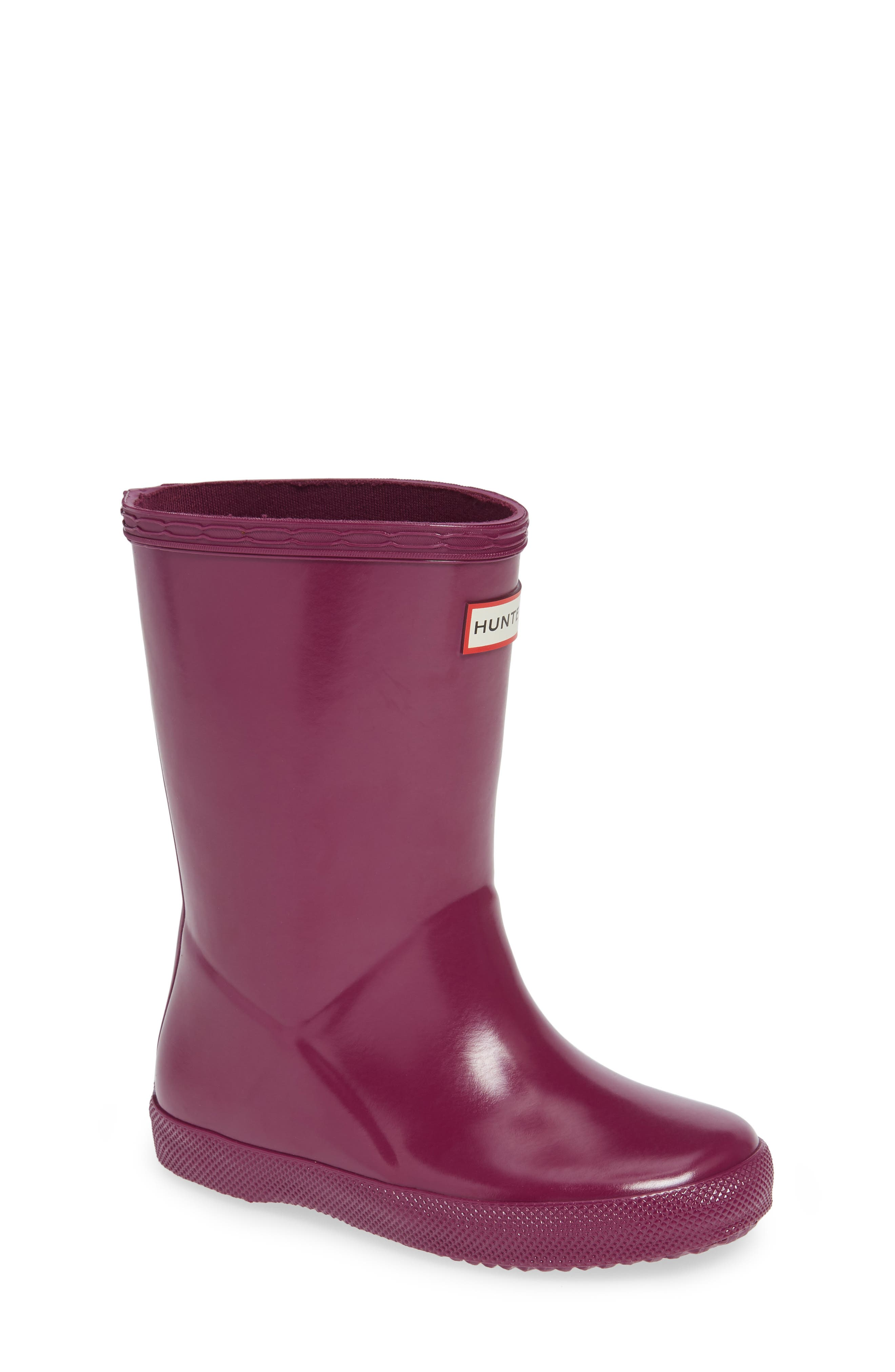 HUNTER,                             'First Gloss' Rain Boot,                             Main thumbnail 1, color,                             VIOLET