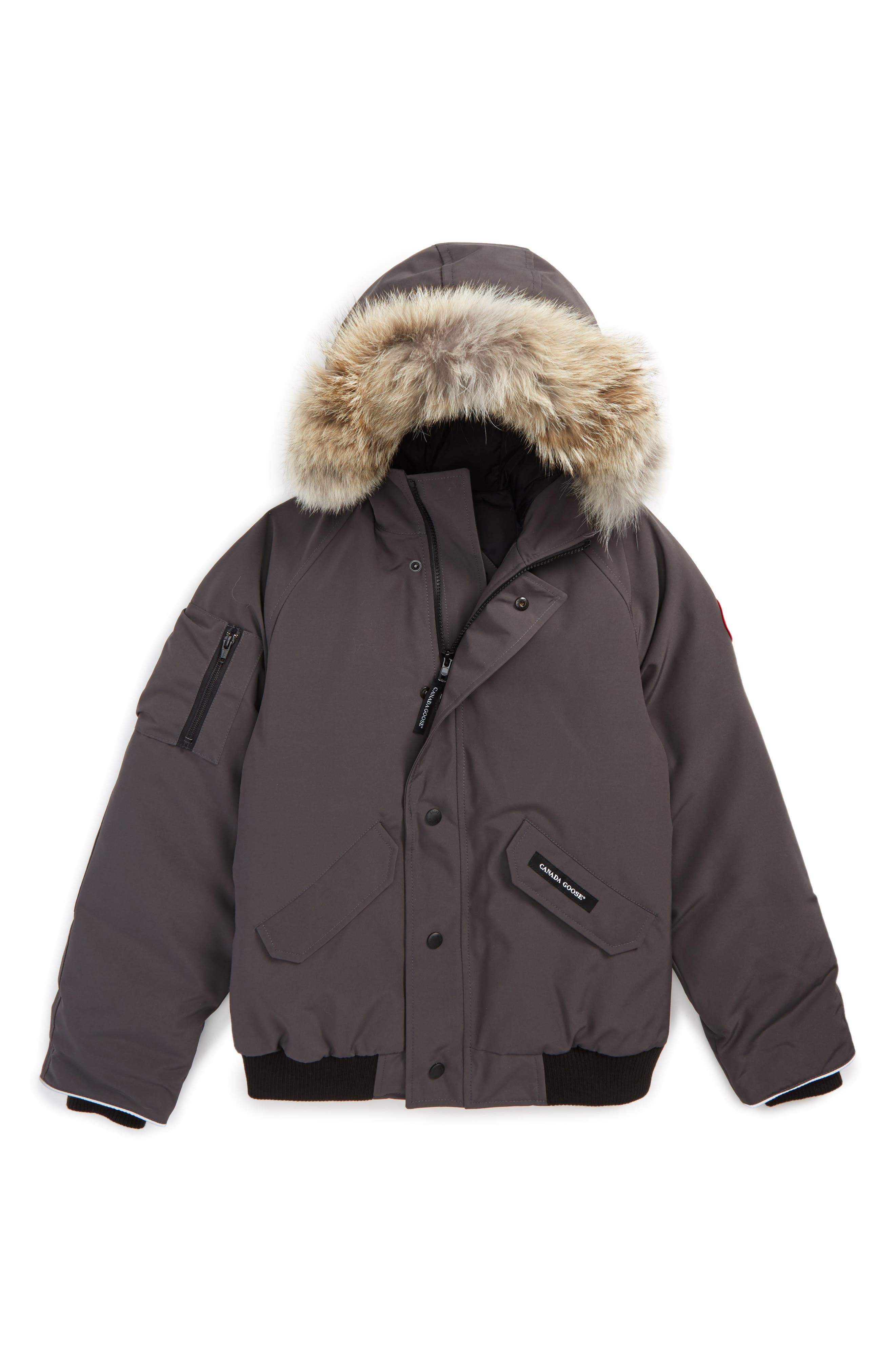 CANADA GOOSE 'Rundle' Down Bomber Jacket with Genuine Coyote Fur Trim, Main, color, GRAPHITE
