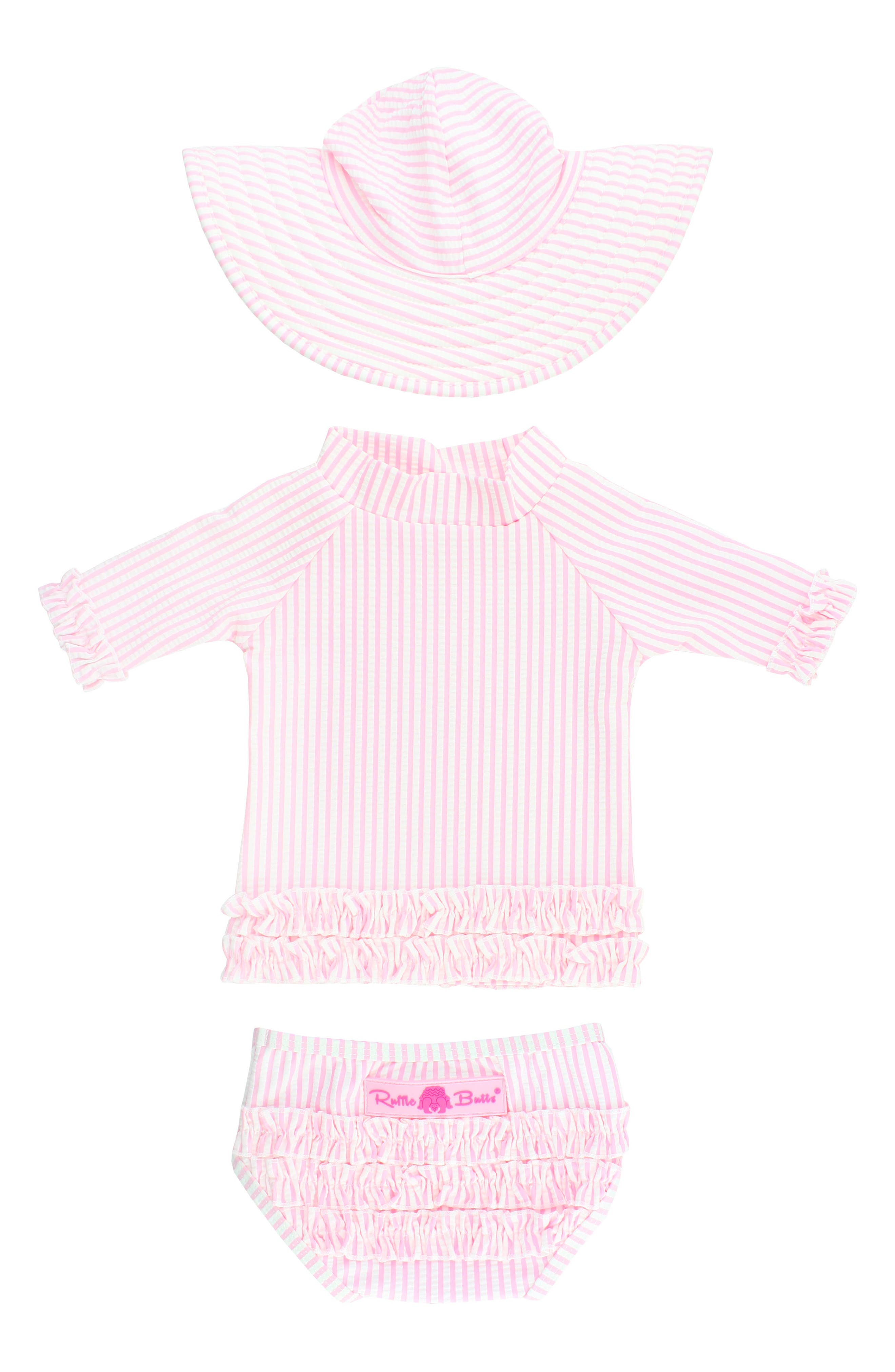 RUFFLEBUTTS Seersucker Two-Piece Rashguard Swimsuit & Hat Set, Main, color, PINK