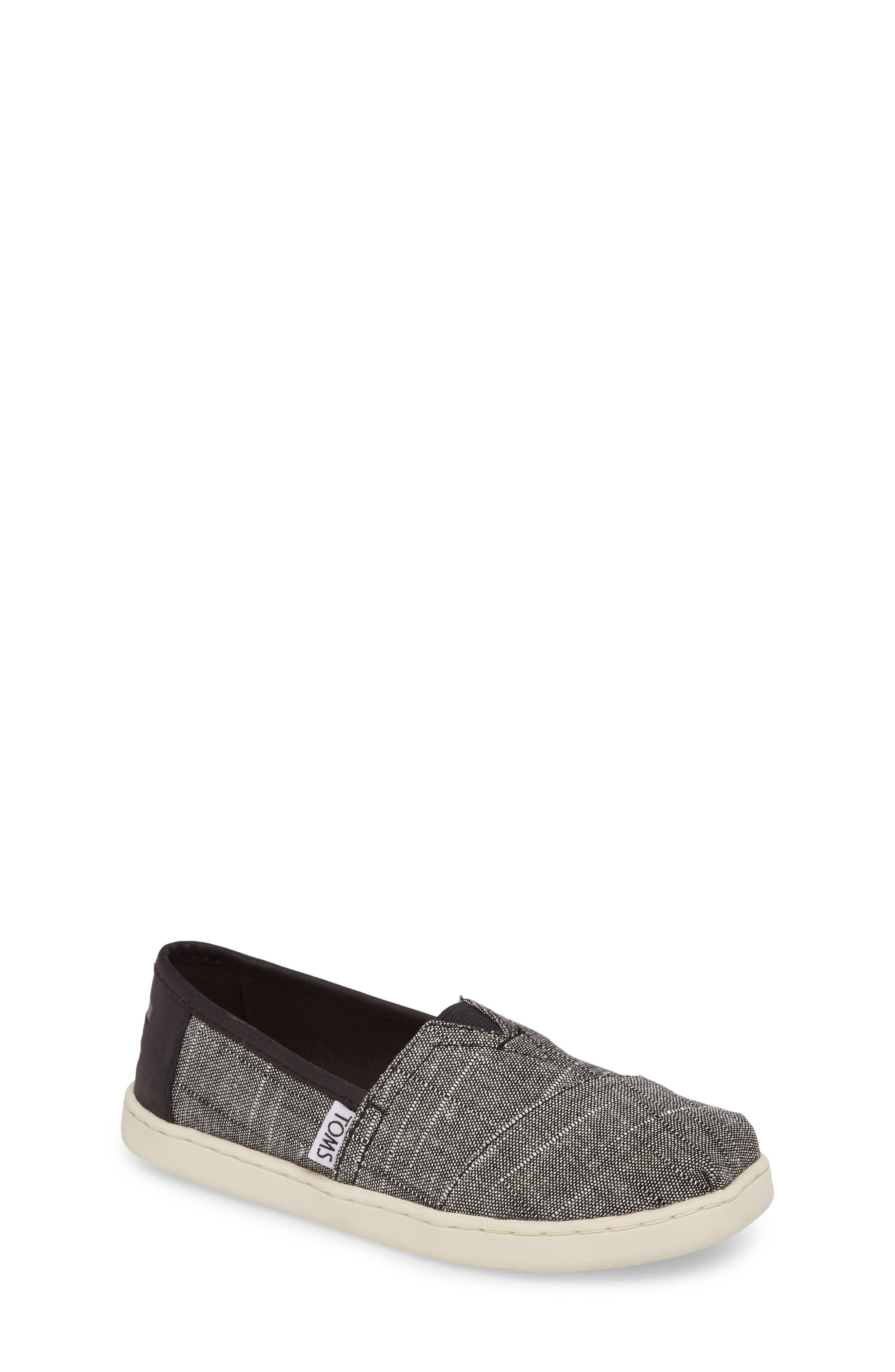 TOMS Classic Alpargata Slip-On, Main, color, BLACK TEXTURED CHAMBRAY