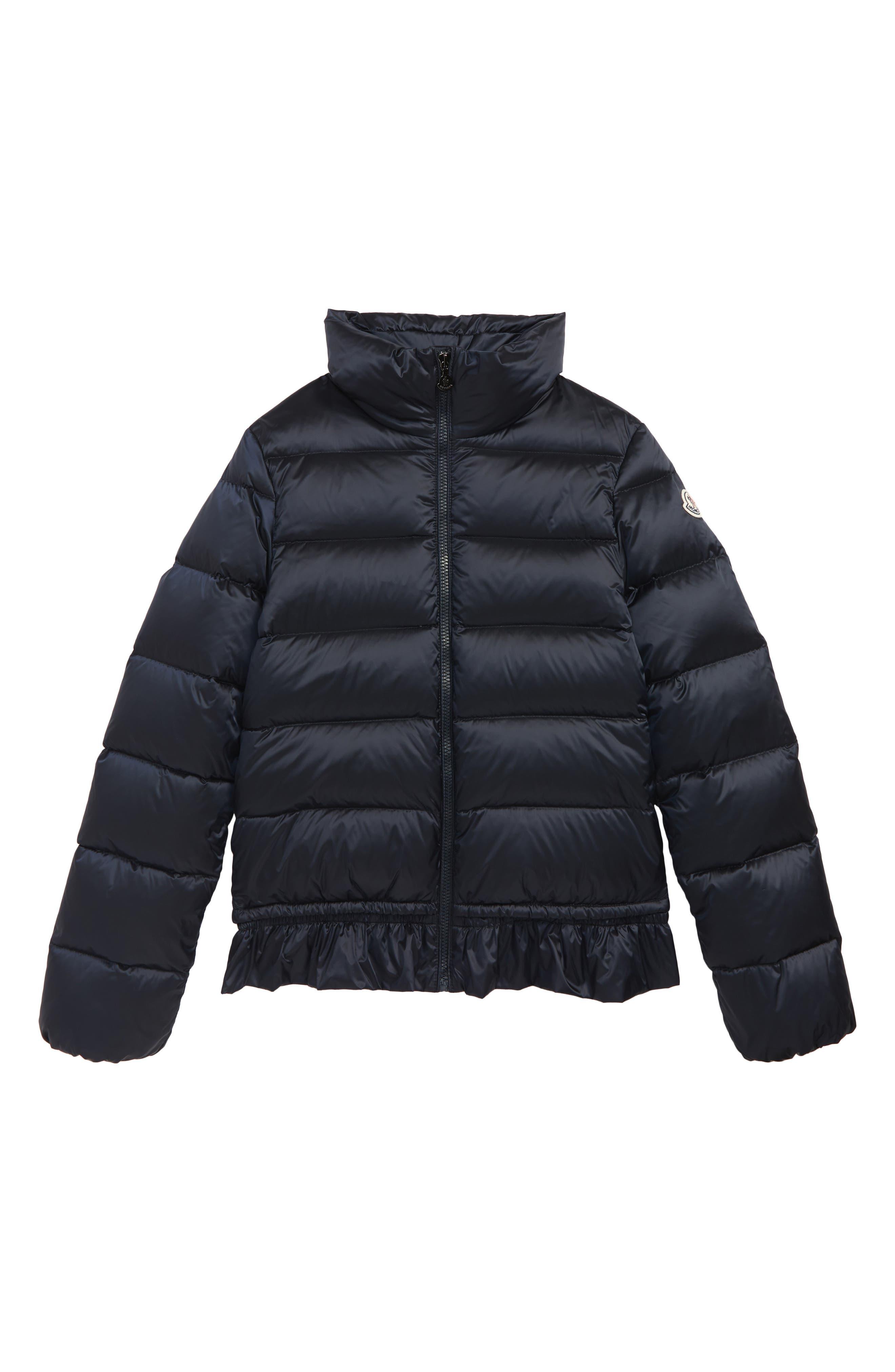 MONCLER Anemonet Ruffle Trim Jacket, Main, color, NAVY