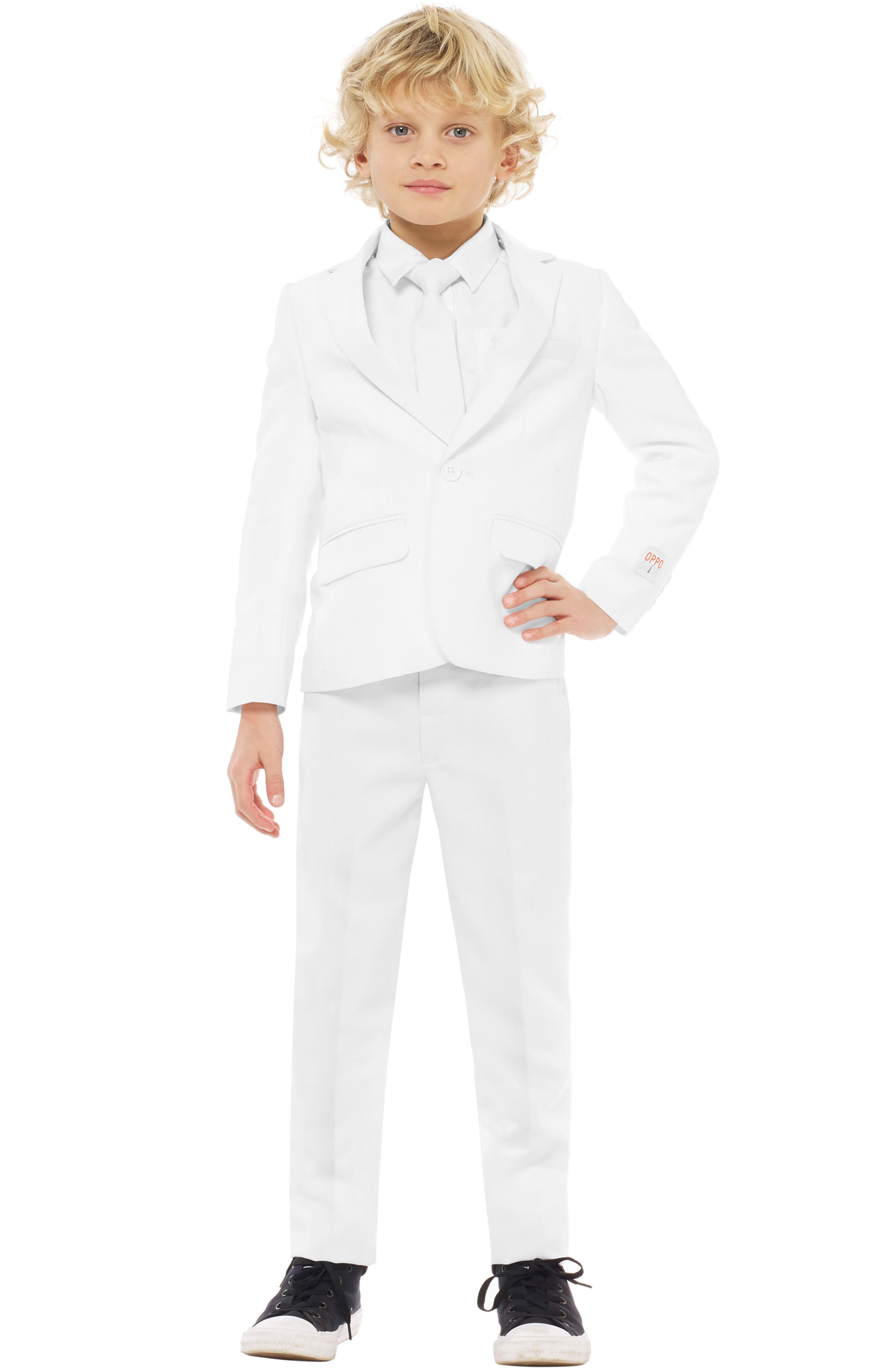 OPPOSUITS,                             Knight Two-Piece Suit with Tie,                             Main thumbnail 1, color,                             WHITE