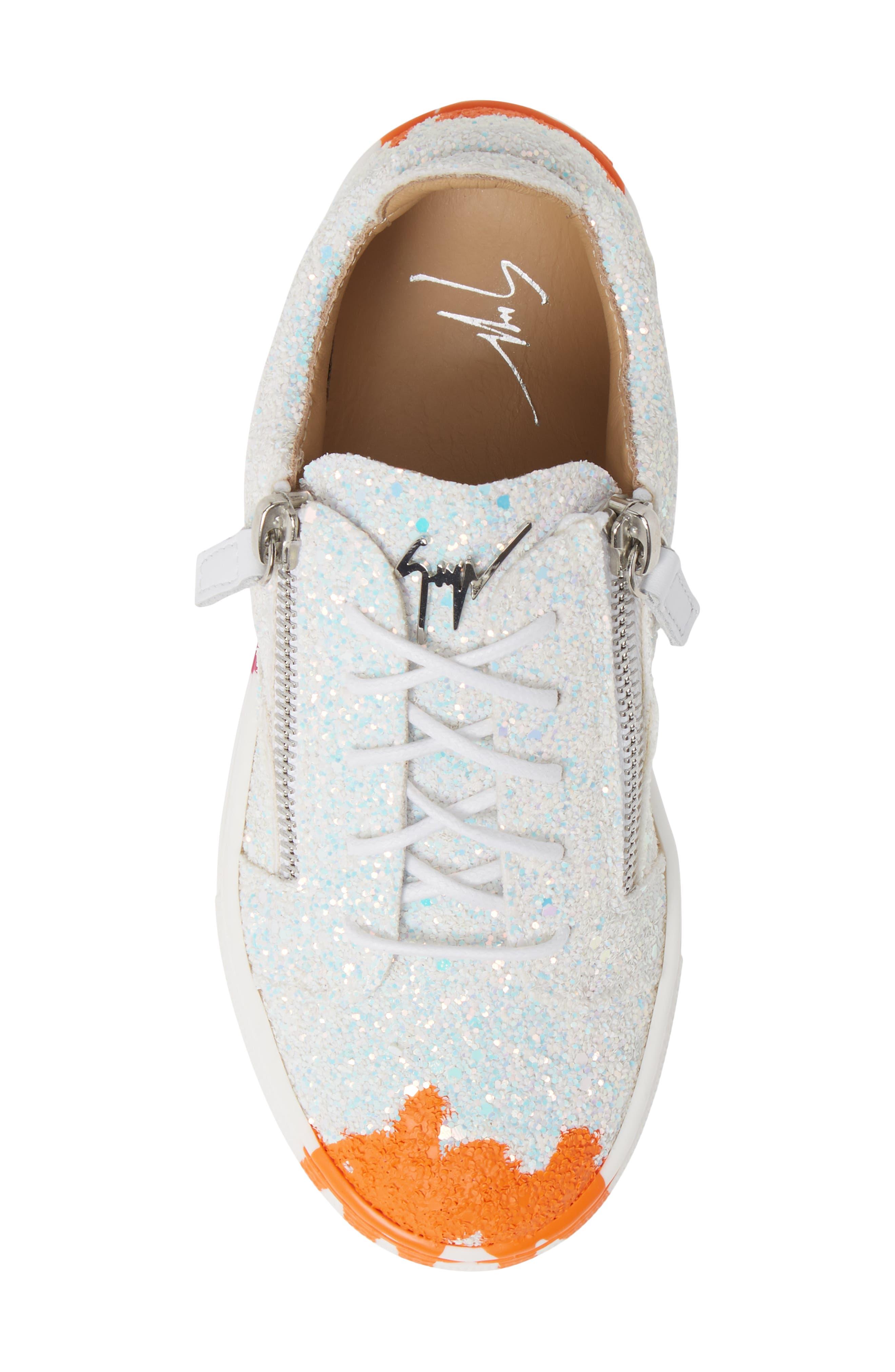 GIUSEPPE ZANOTTI,                             London Glitter Sneaker,                             Alternate thumbnail 5, color,                             MILK