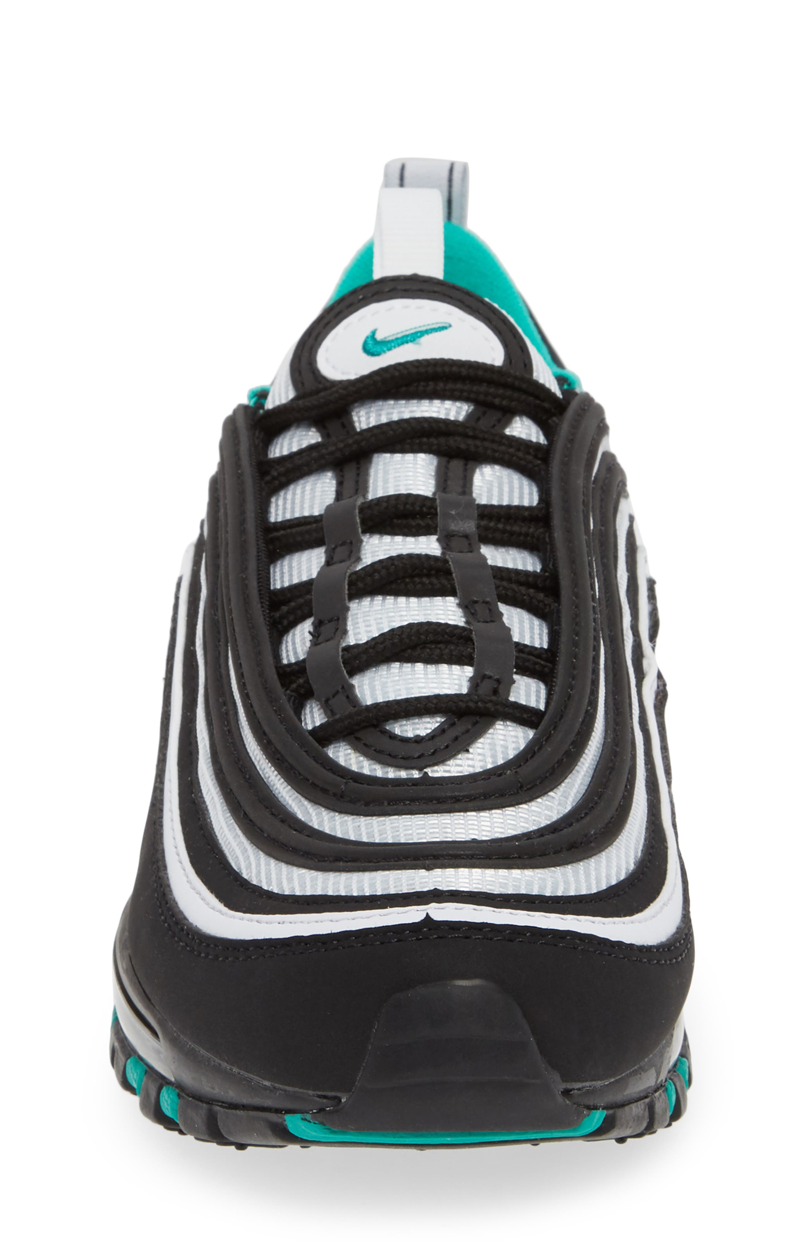 NIKE,                             Air Max 97 Sneaker,                             Alternate thumbnail 4, color,                             BLACK/ CLEAR EMERALD-WHITE