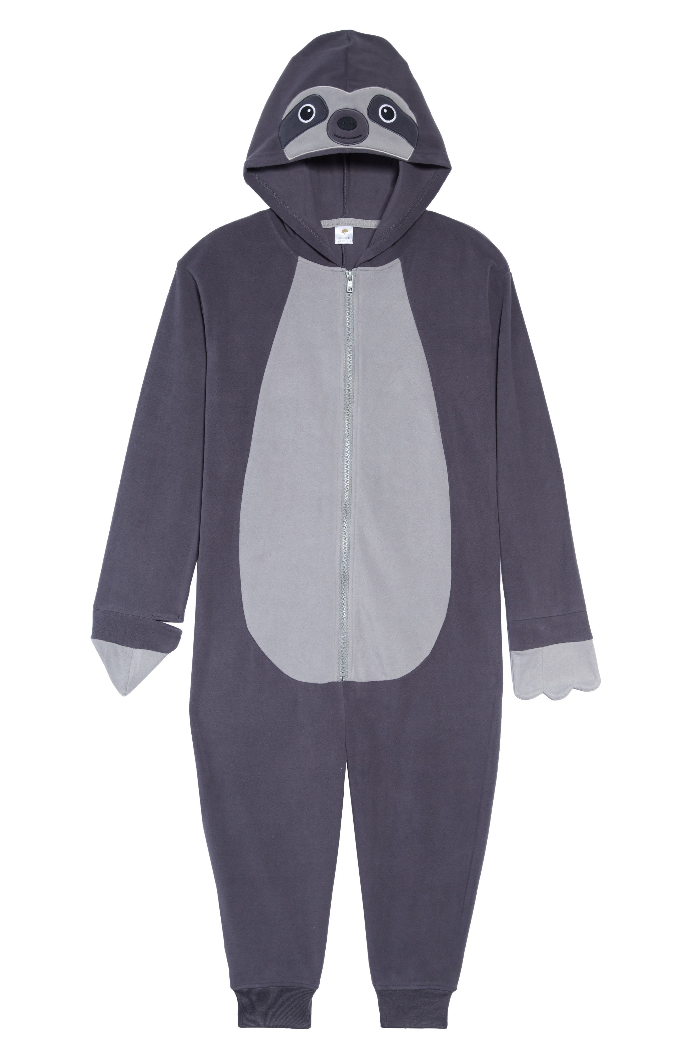 TUCKER + TATE Sloth Hooded One-Piece Pajamas, Main, color, 021