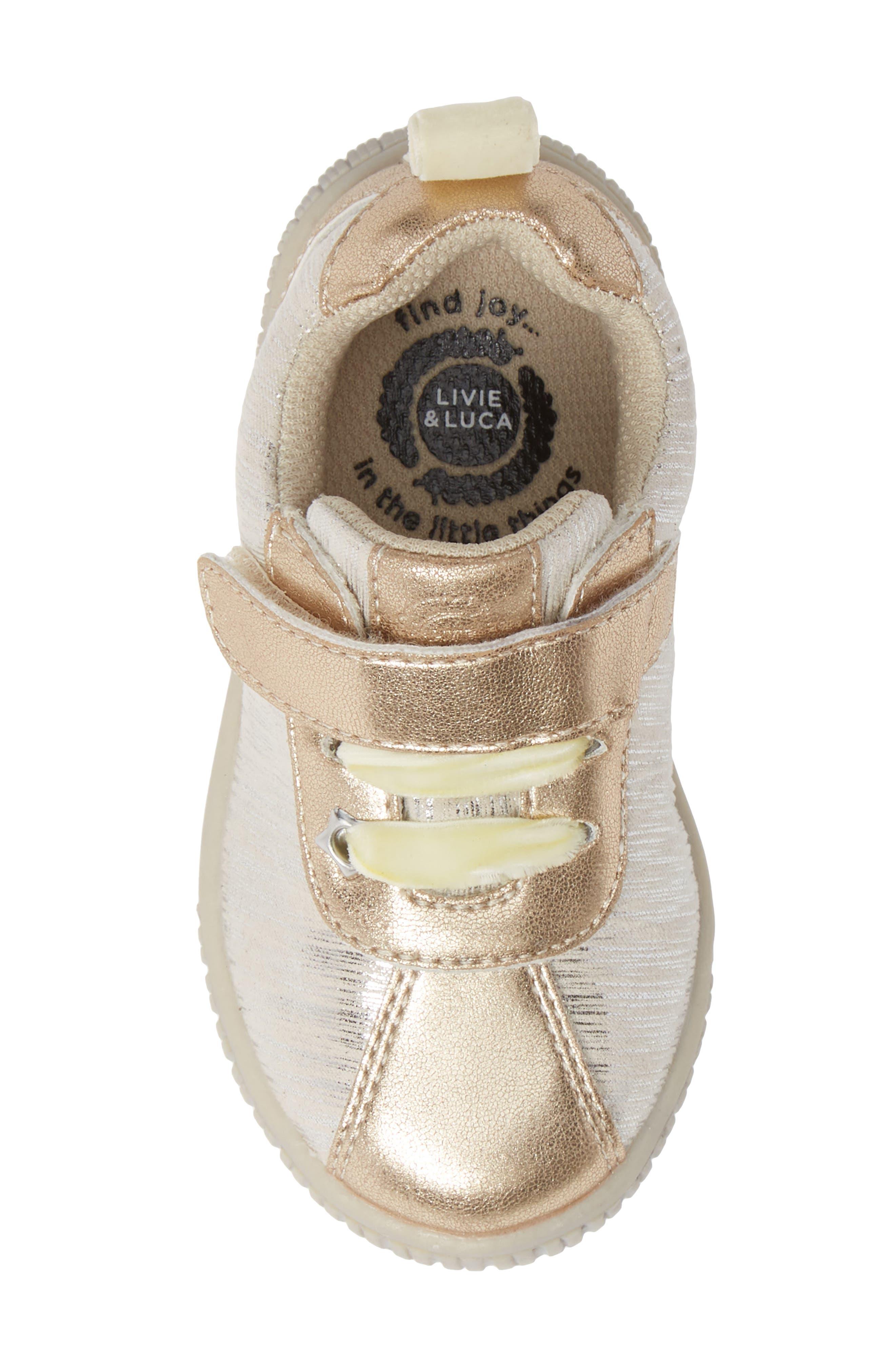 LIVIE & LUCA,                             Spin Metallic Sneaker,                             Alternate thumbnail 5, color,                             CREAM TINSEL