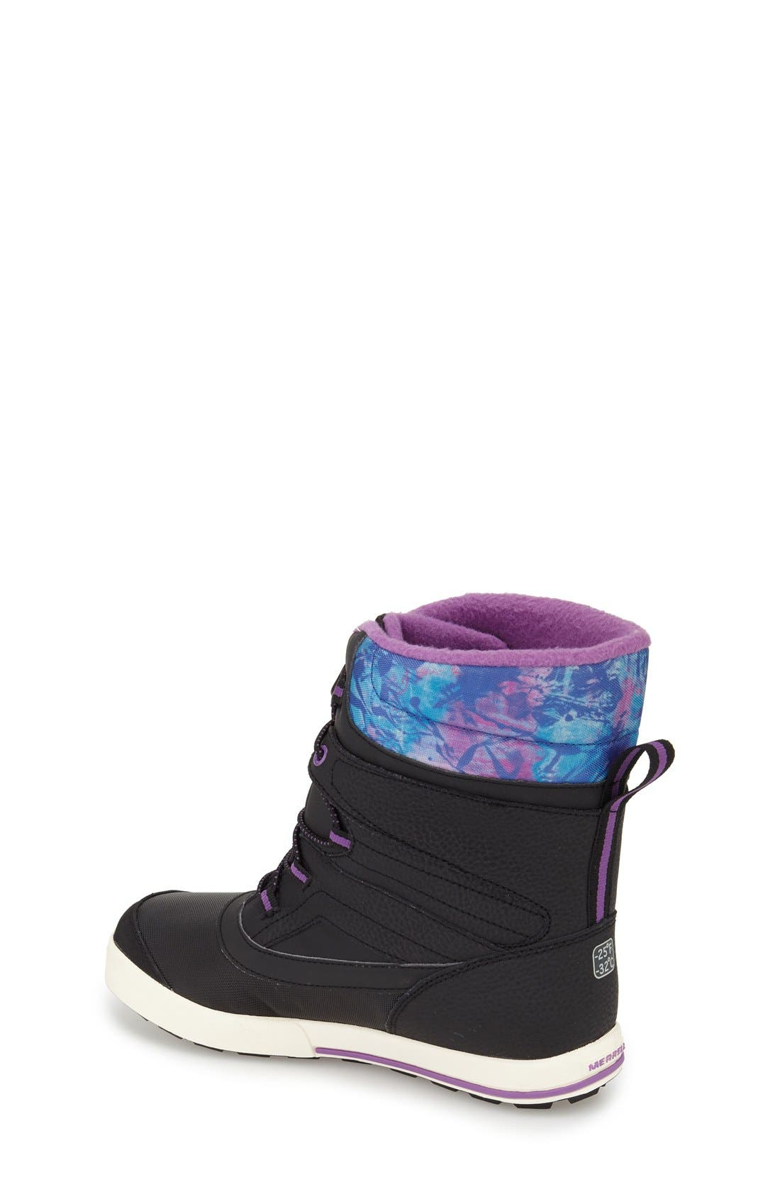 MERRELL,                             'Snow Bank 2' Waterproof Boot,                             Alternate thumbnail 2, color,                             BLACK/ PRINT/ BERRY LEATHER