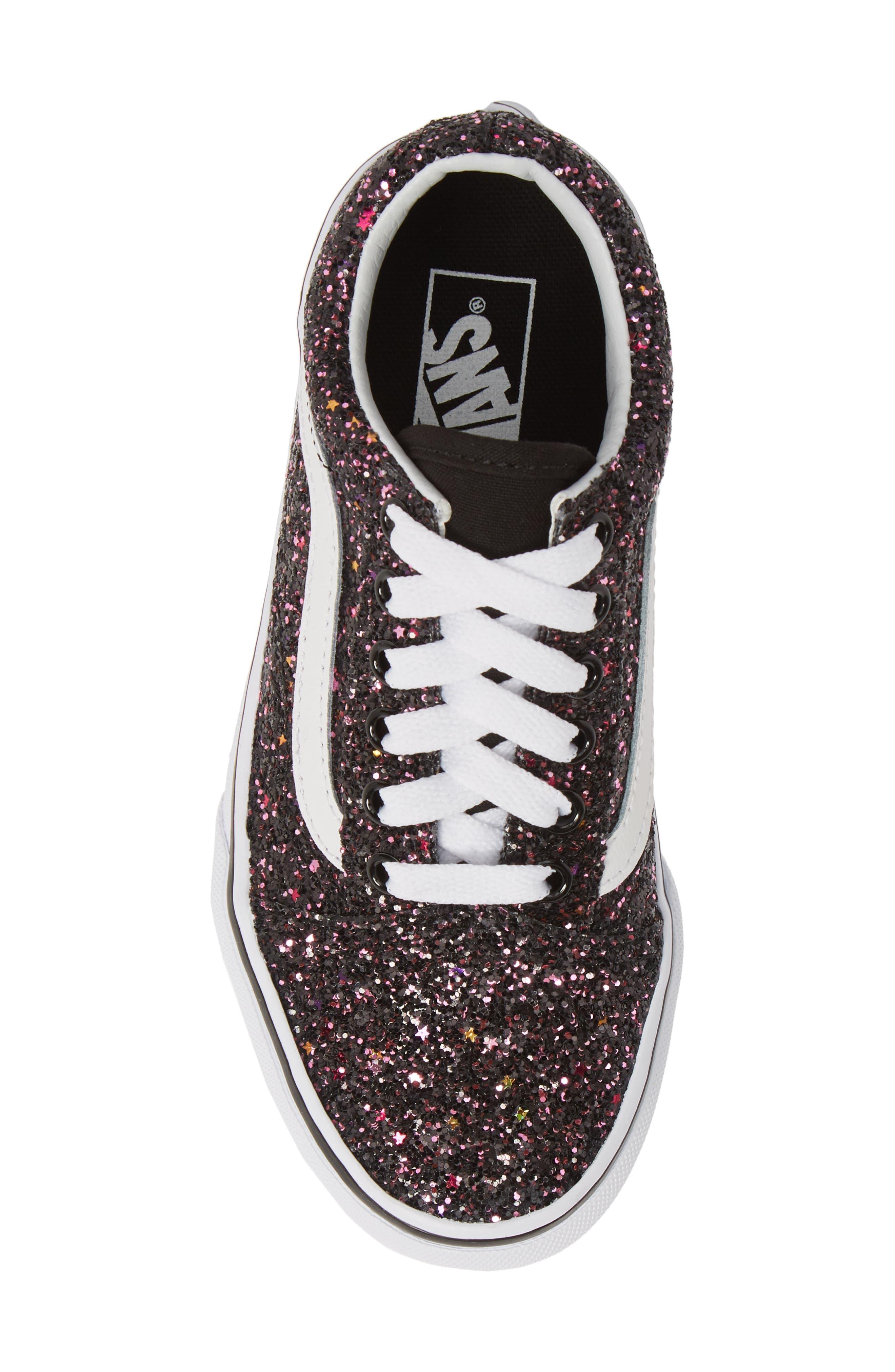 VANS,                             Old Skool Sneaker,                             Alternate thumbnail 5, color,                             GLITTER STARS BLACK/ WHITE