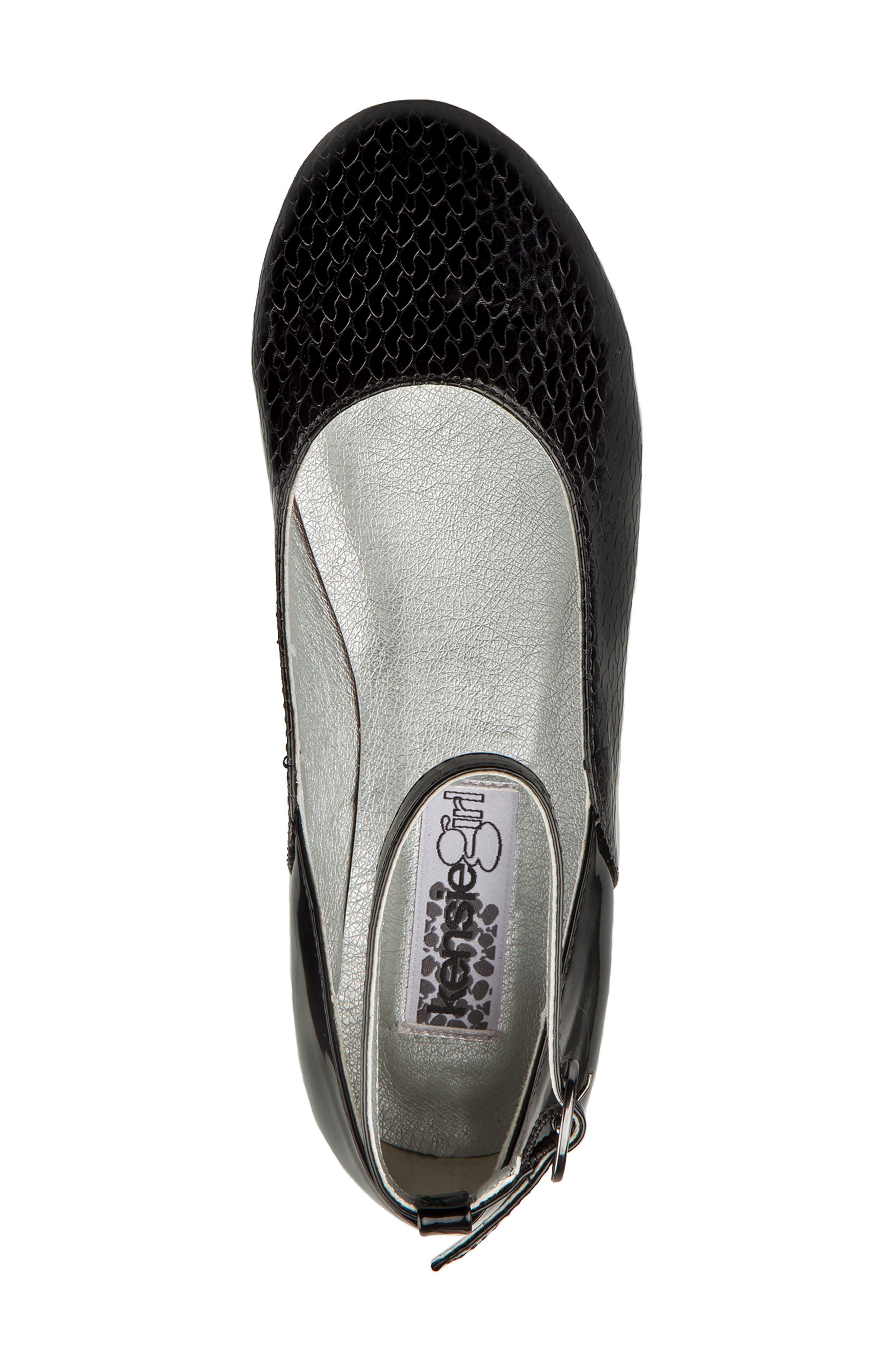KENSIE GIRL,                             Ankle Strap Ballerina Flat,                             Alternate thumbnail 4, color,                             BLACK FAUX PATENT
