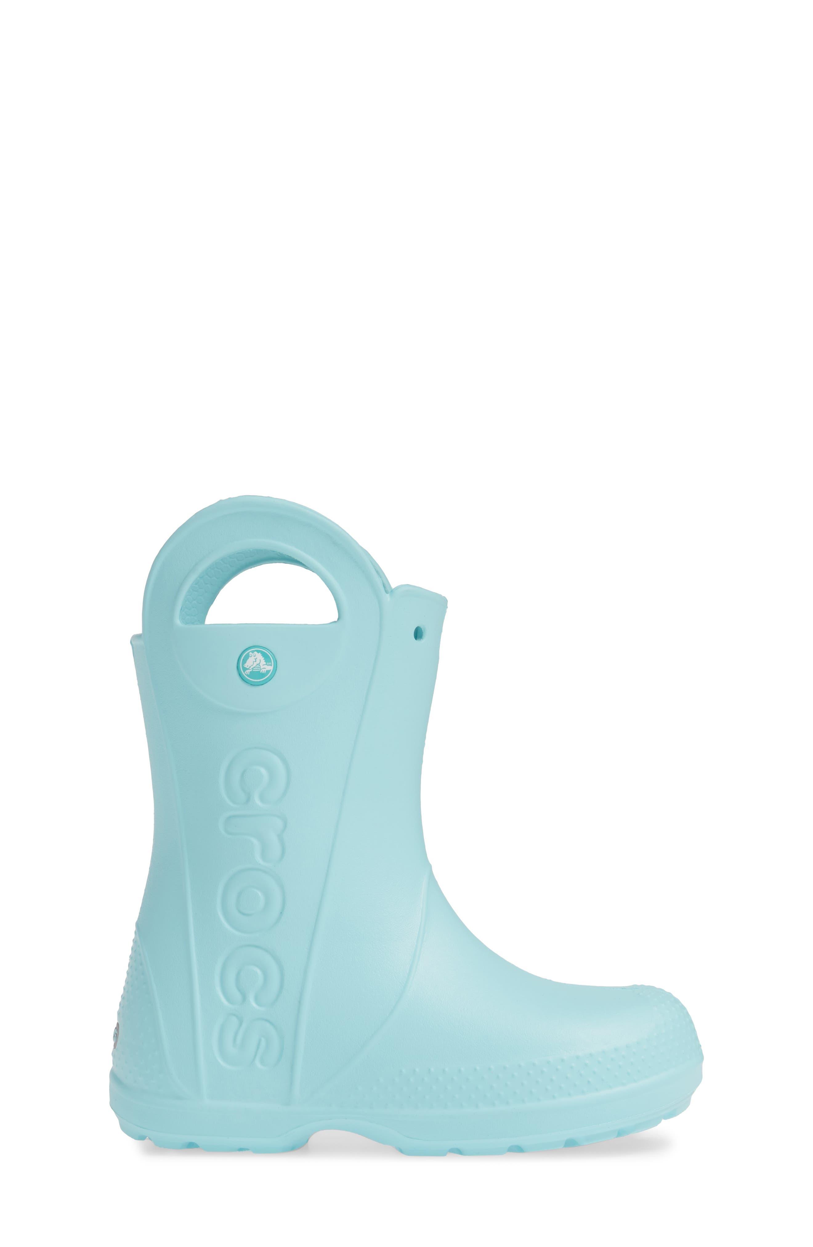 CROCS<SUP>™</SUP>,                             Handle It Waterproof Rain Boot,                             Alternate thumbnail 3, color,                             ICE BLUE