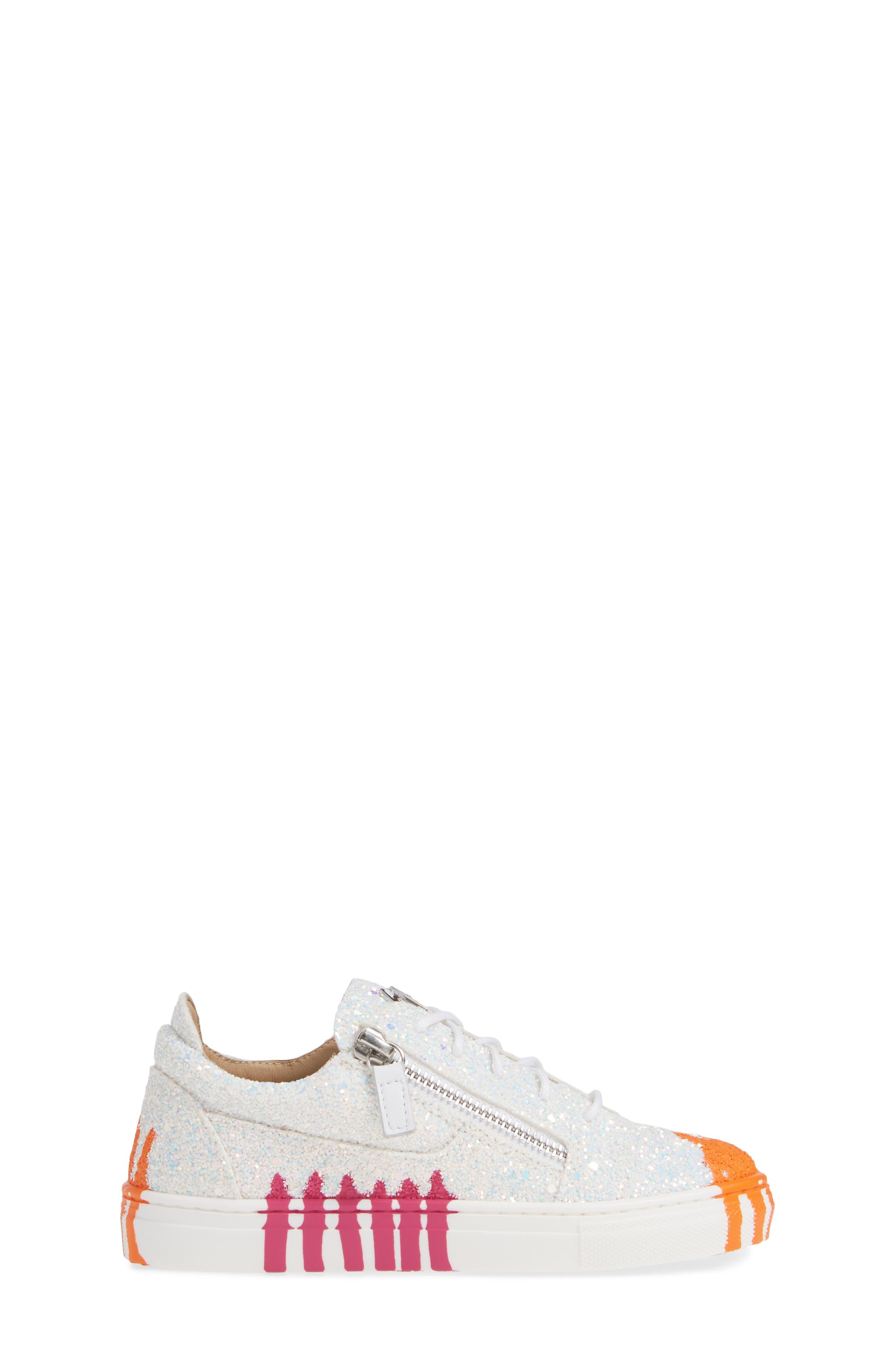 GIUSEPPE ZANOTTI,                             London Glitter Sneaker,                             Alternate thumbnail 3, color,                             MILK