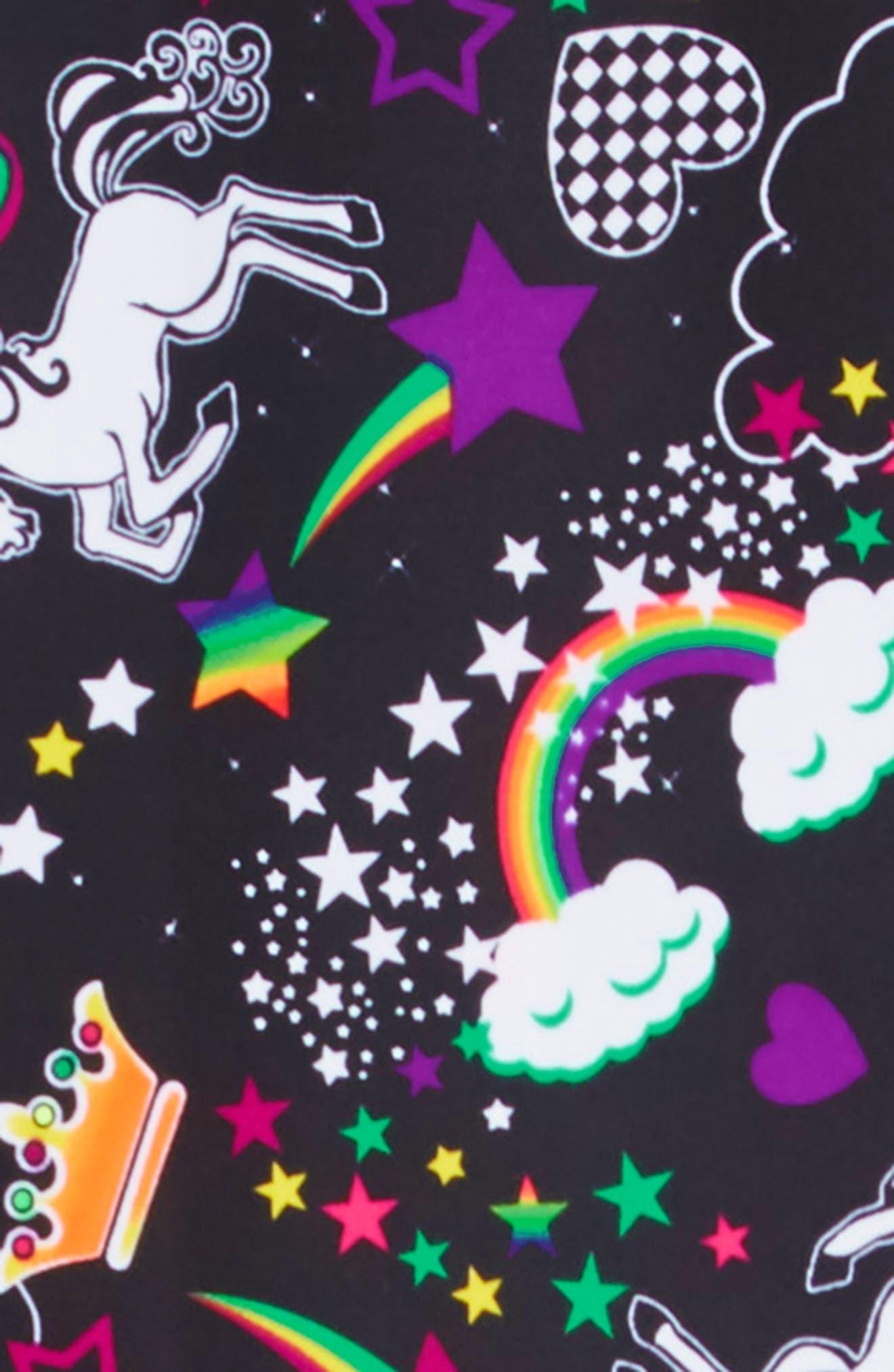 GP SPORT,                             Unicorn Love Active Dress,                             Alternate thumbnail 3, color,                             BLACK/ AQUA