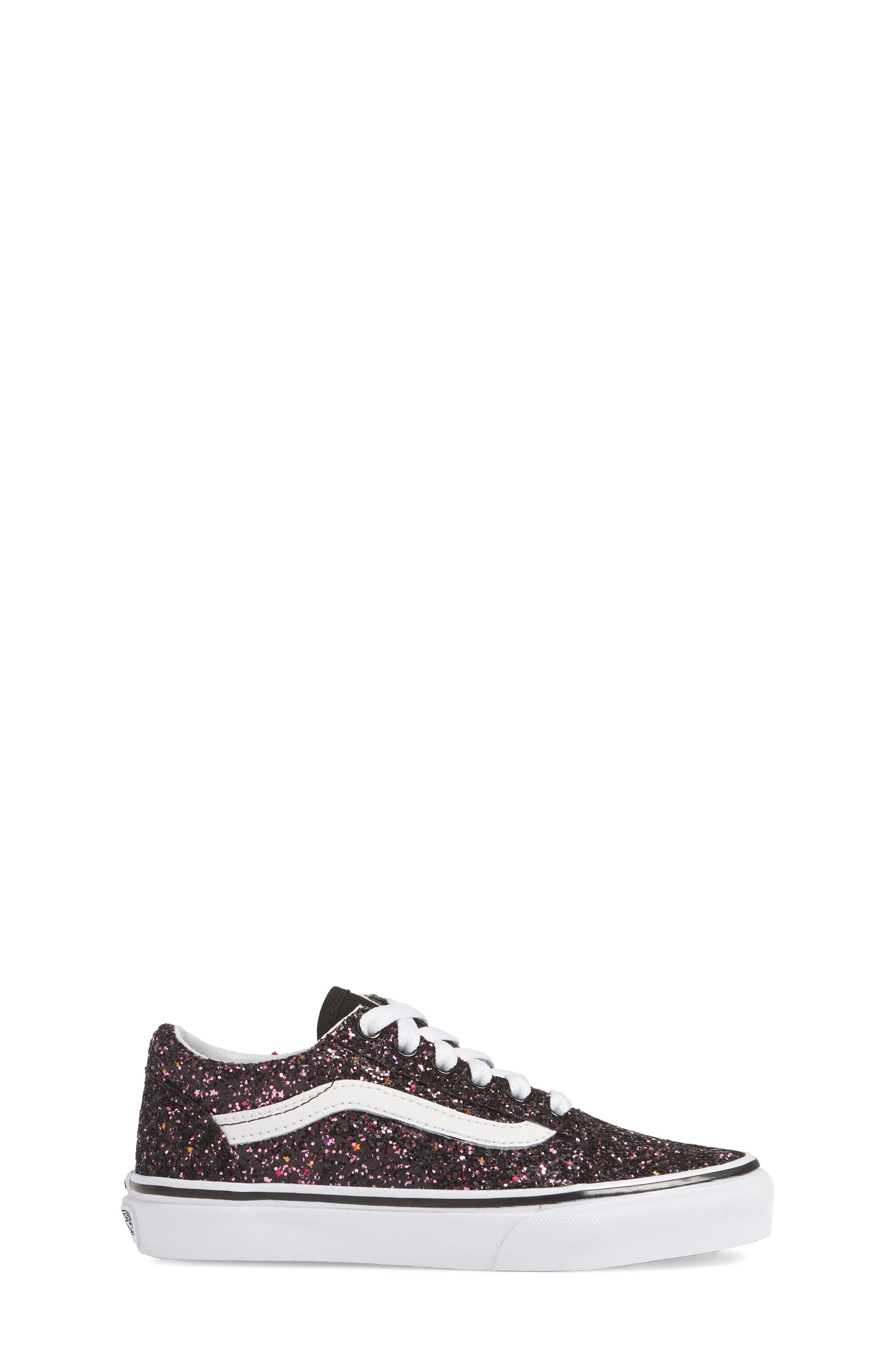 VANS,                             Old Skool Sneaker,                             Alternate thumbnail 3, color,                             GLITTER STARS BLACK/ WHITE