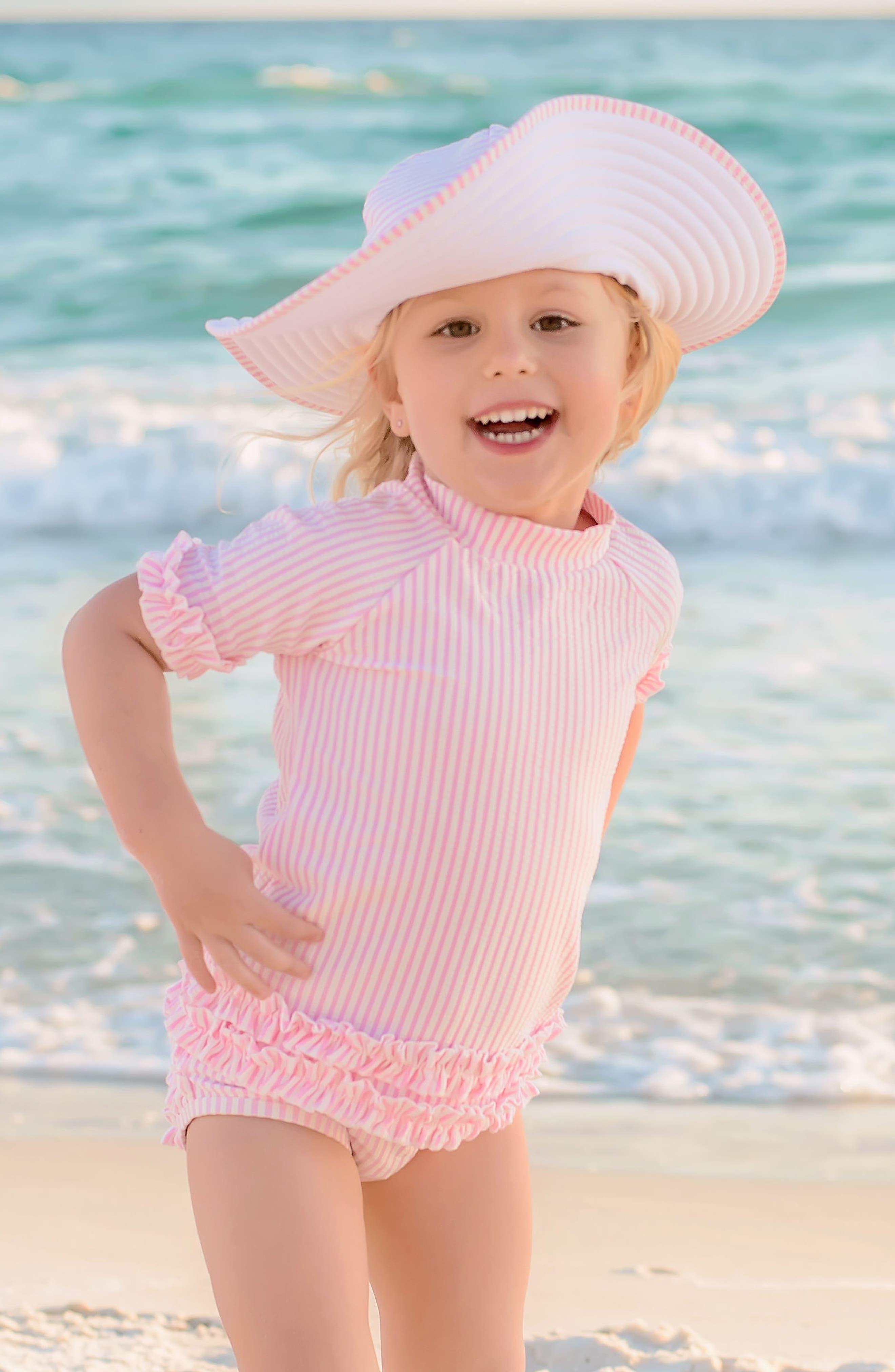 RUFFLEBUTTS,                             Seersucker Two-Piece Rashguard Swimsuit & Hat Set,                             Alternate thumbnail 5, color,                             PINK