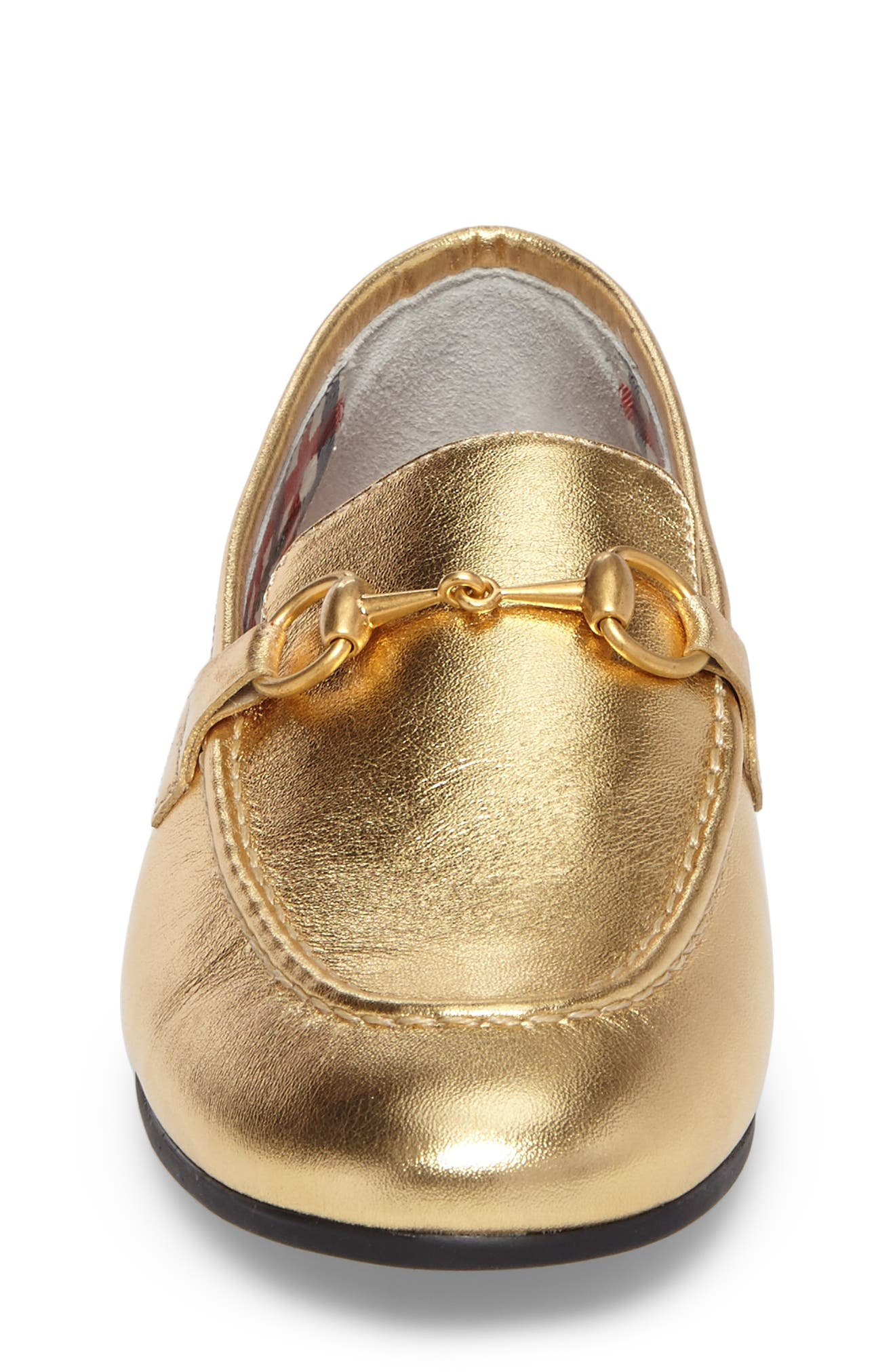 GUCCI,                             Jordaan Bit Loafer,                             Alternate thumbnail 4, color,                             METALLIC GOLD