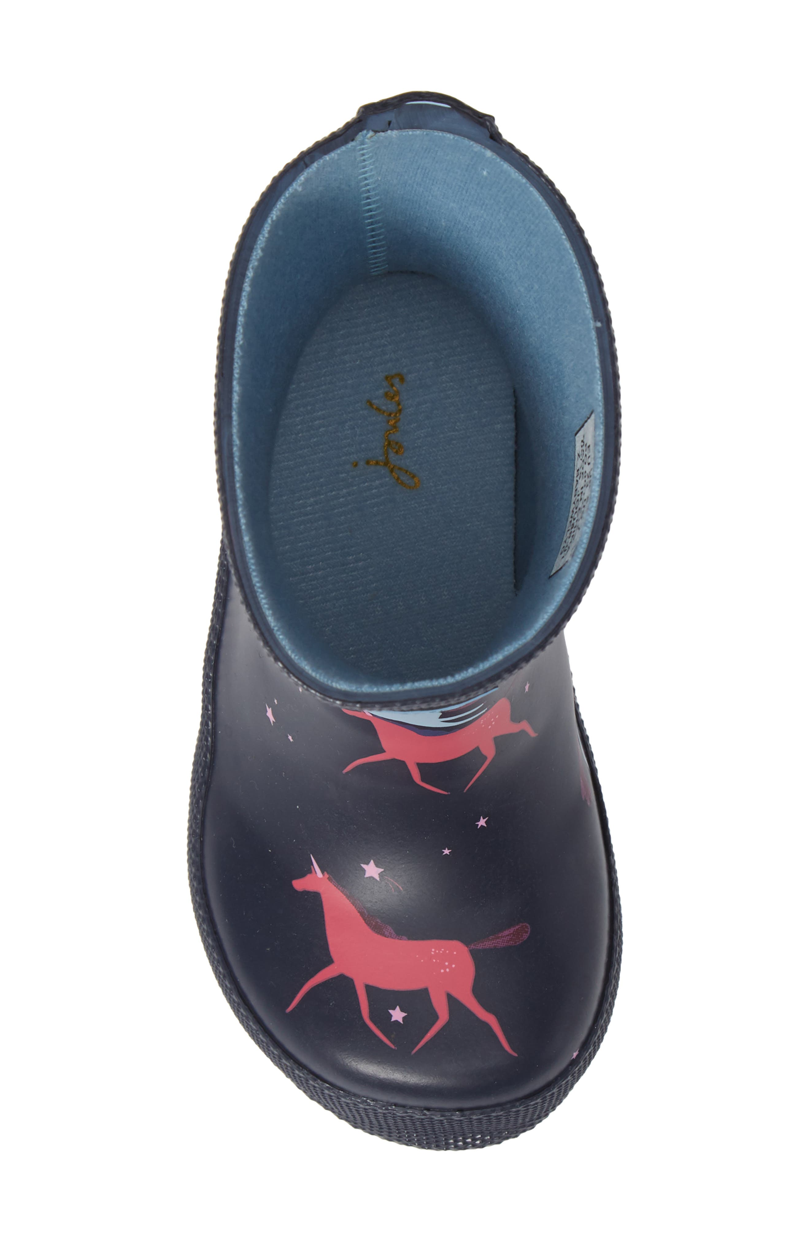 JOULES,                             Baby Welly Print Waterproof Boot,                             Alternate thumbnail 5, color,                             NAVY MAGICAL UNICORN