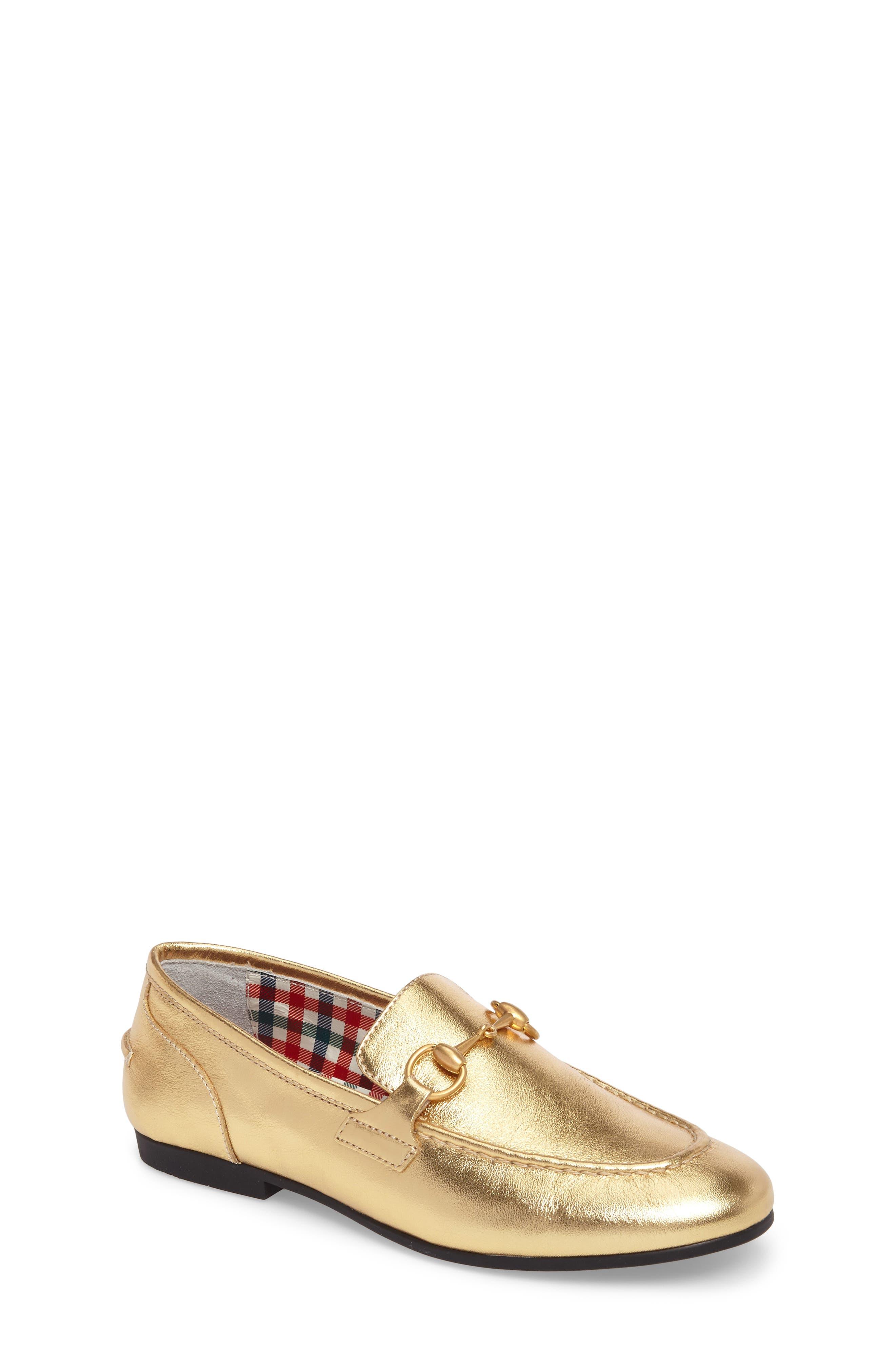 GUCCI Jordaan Bit Loafer, Main, color, METALLIC GOLD