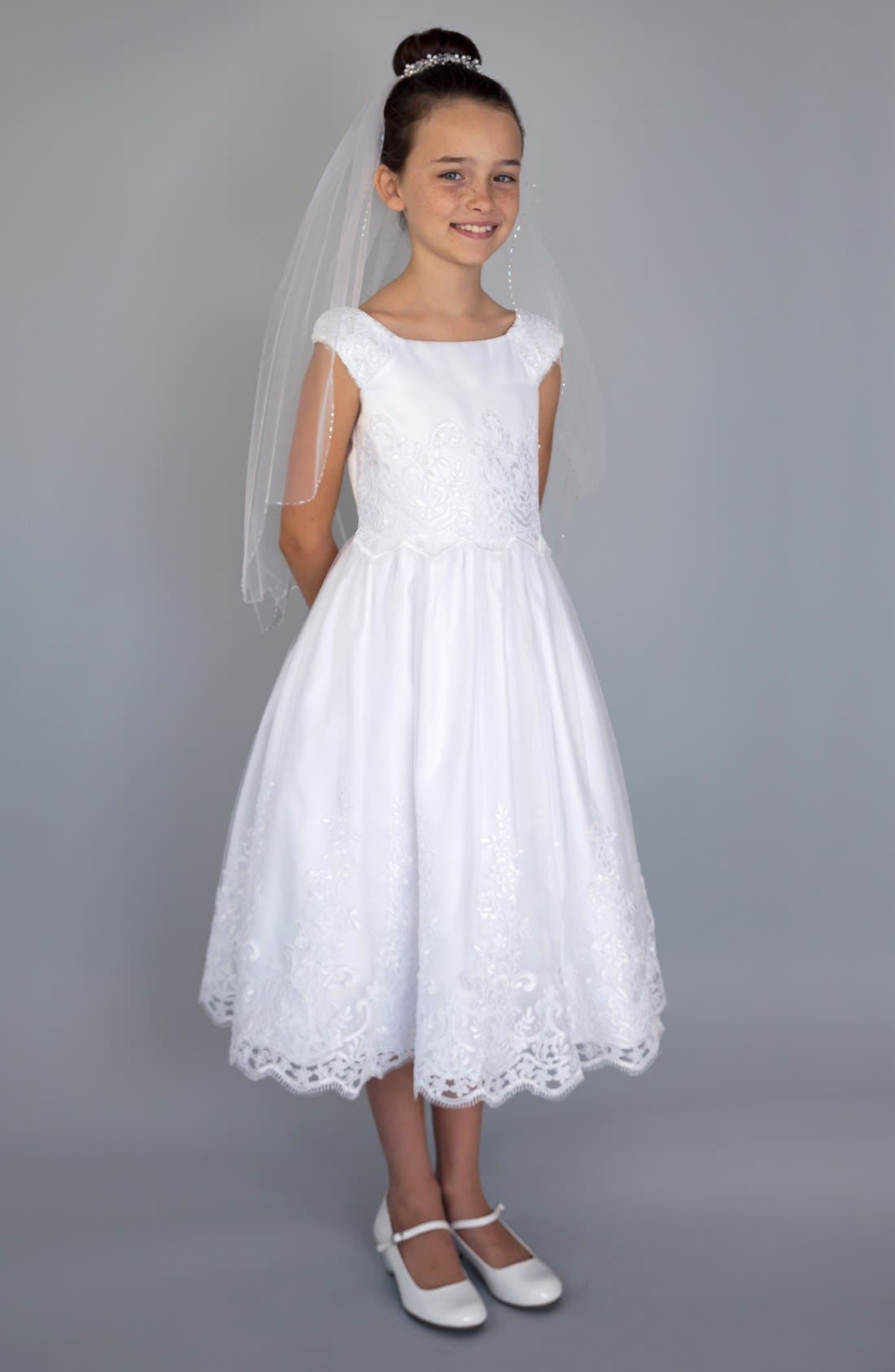 US ANGELS,                             Embroidered Cap Sleeve Dress,                             Main thumbnail 1, color,                             WHITE