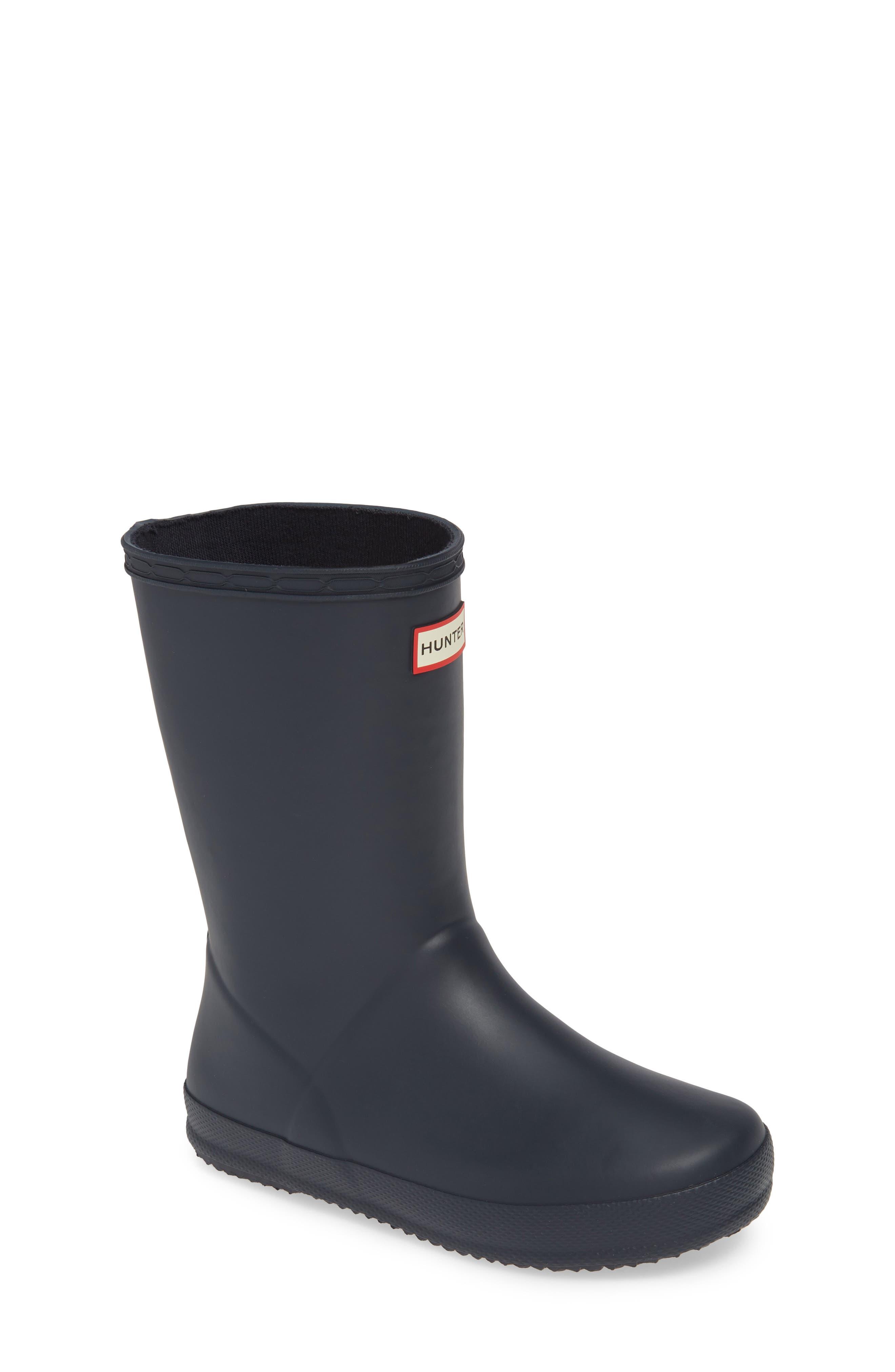 HUNTER,                             First Classic Waterproof Rain Boot,                             Alternate thumbnail 2, color,                             NAVY