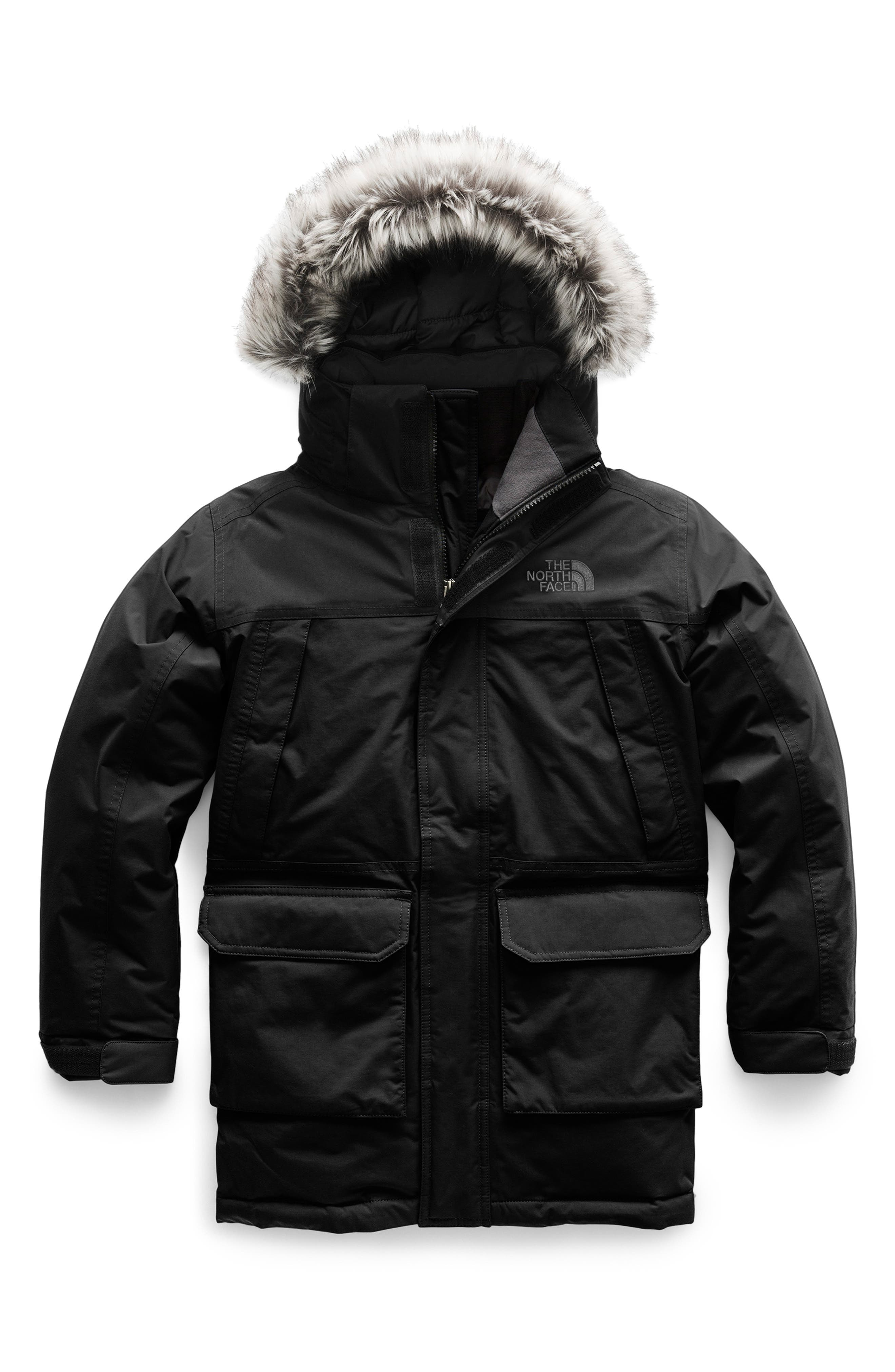 THE NORTH FACE,                             McMurdo Waterproof 550 Fill Power Down Parka with Faux Fur Trim,                             Main thumbnail 1, color,                             001