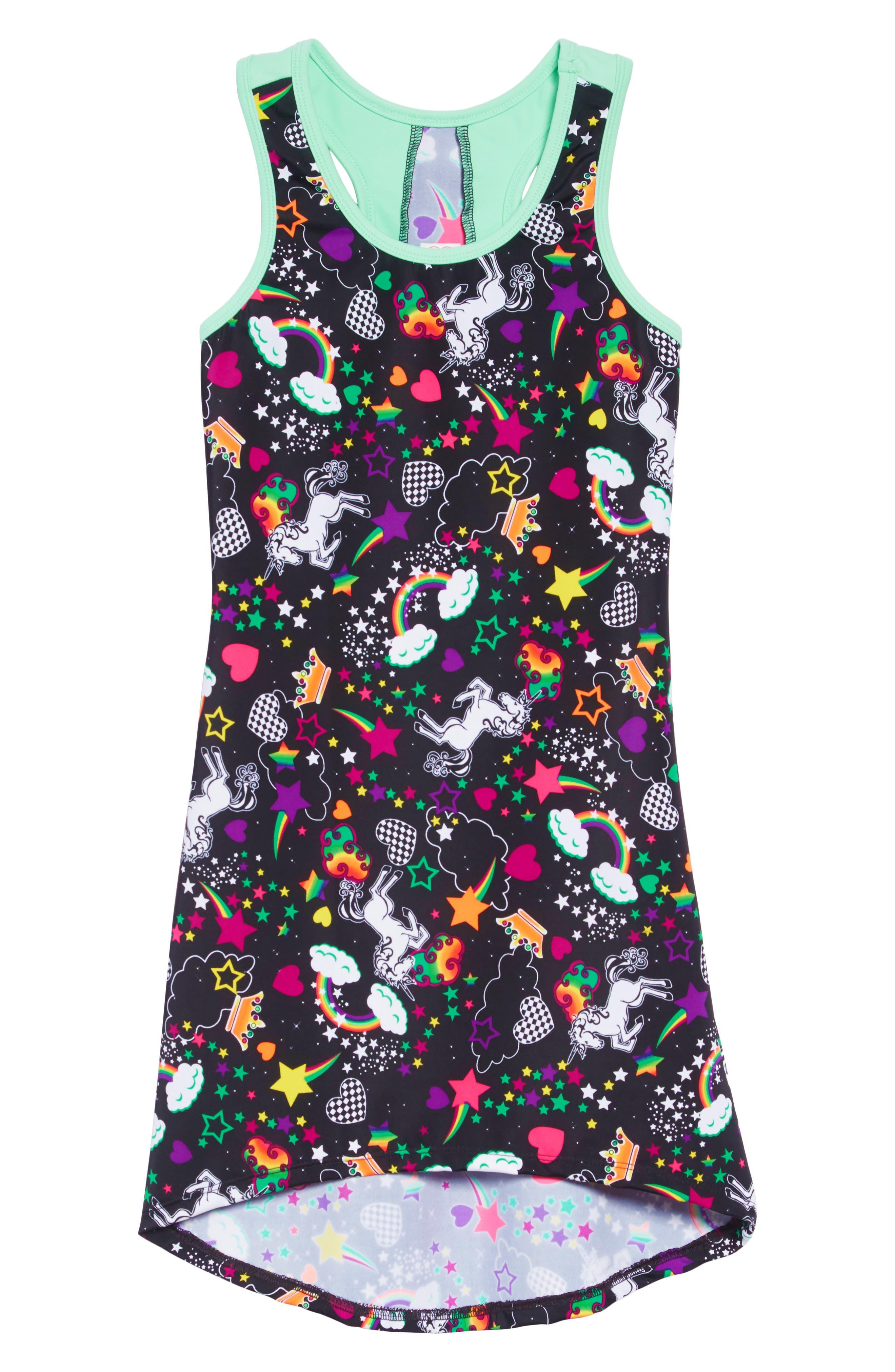 GP SPORT Unicorn Love Active Dress, Main, color, BLACK/ AQUA