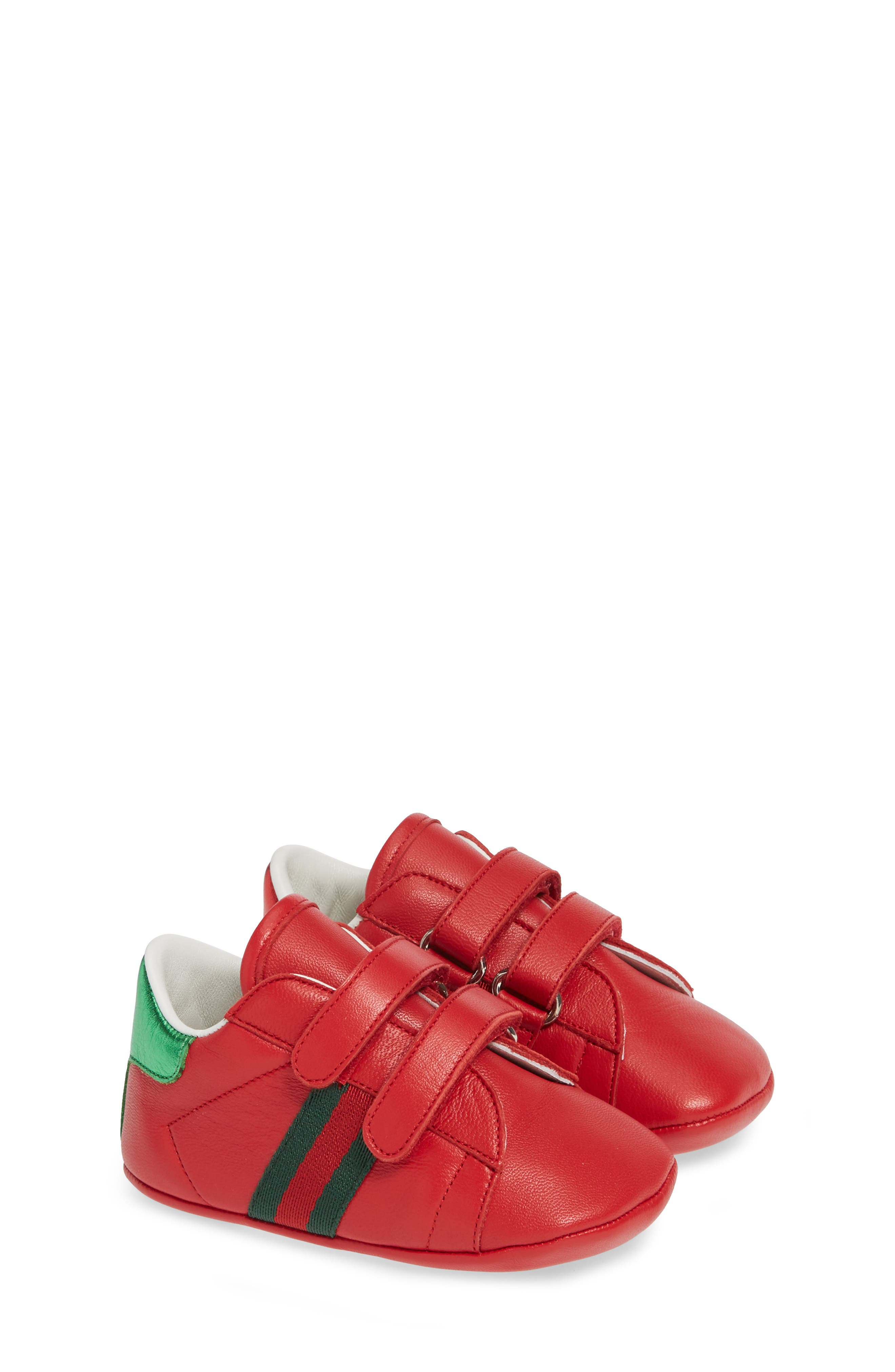GUCCI,                             Ace Crib Shoe,                             Alternate thumbnail 2, color,                             RED