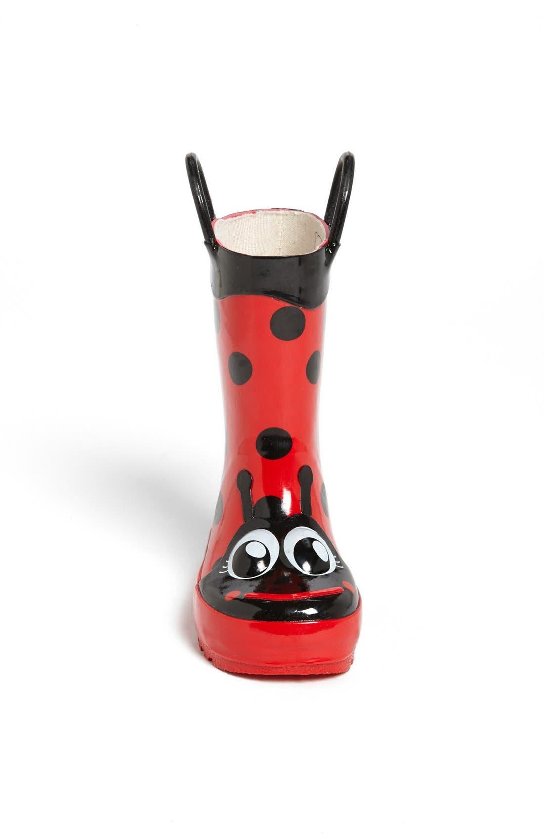 WESTERN CHIEF,                             Ladybug Waterproof Rain Boot,                             Alternate thumbnail 3, color,                             RED