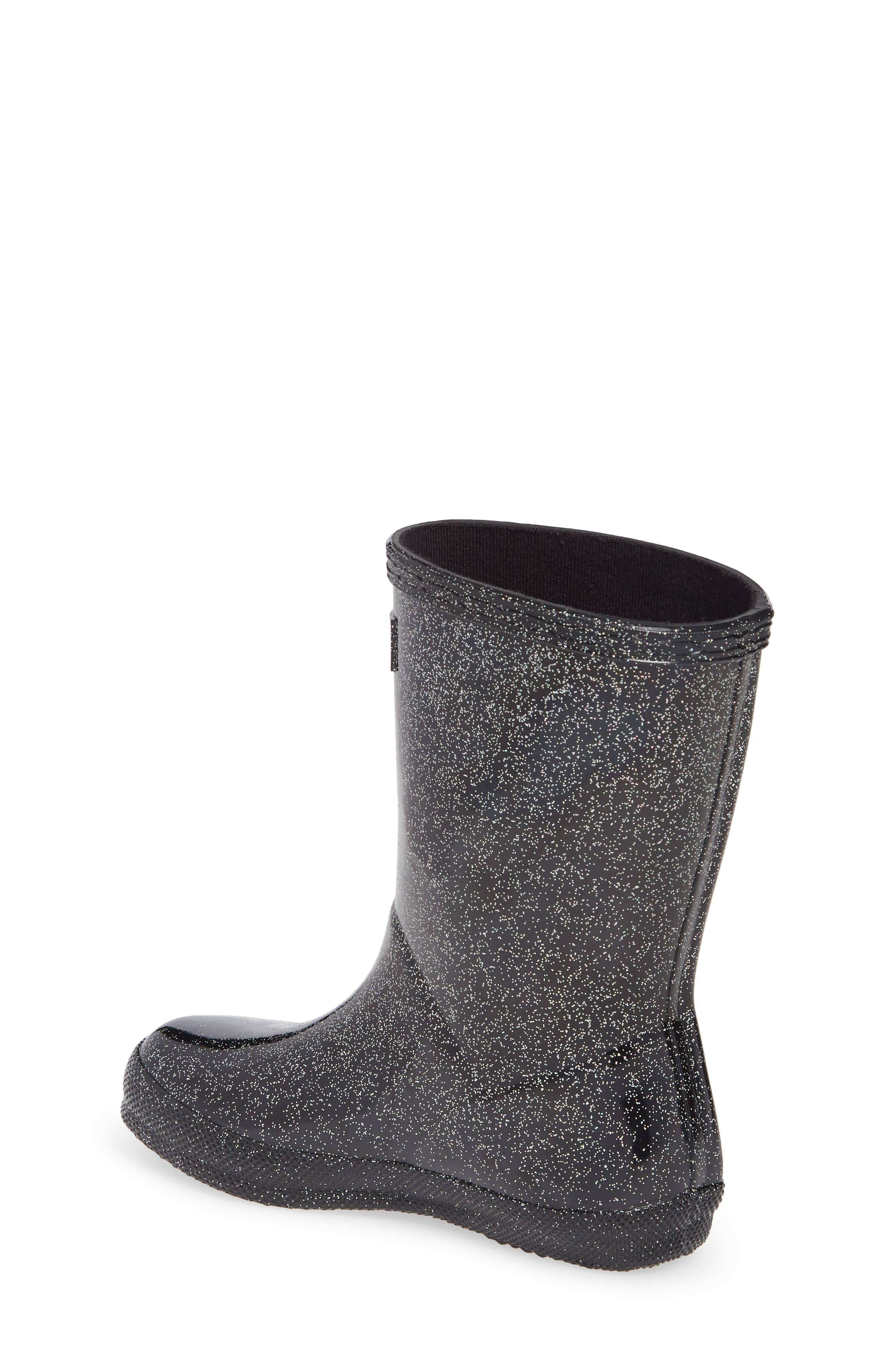 HUNTER,                             Kids First Classic Starcloud Glitter Rain Boot,                             Alternate thumbnail 2, color,                             BLACK MULTI