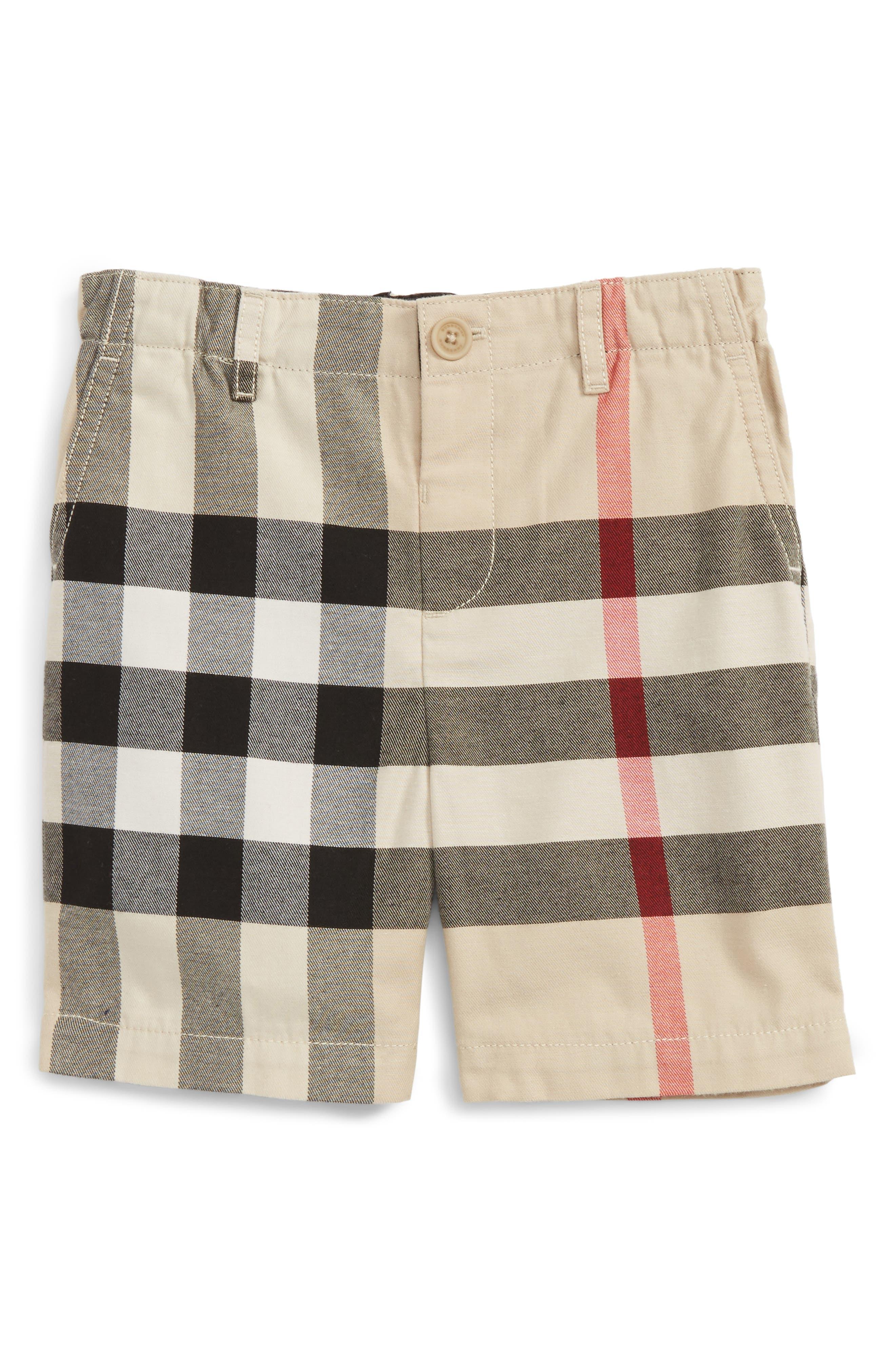 BURBERRY,                             Sean Check Print Shorts,                             Main thumbnail 1, color,                             250