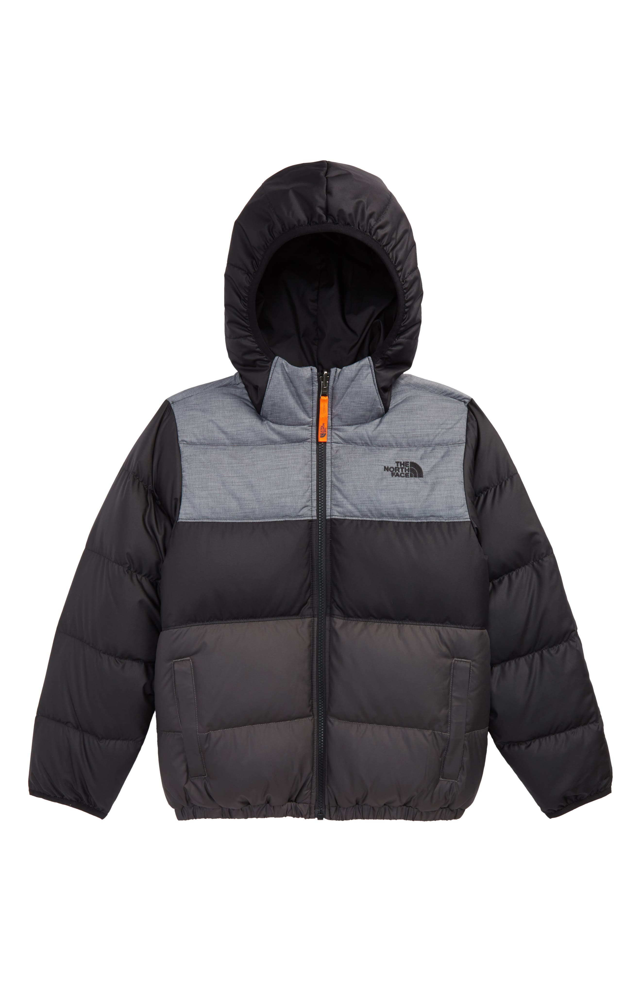 THE NORTH FACE,                             'Moondoggy' Water Repellent Reversible Down Jacket,                             Main thumbnail 1, color,                             BLACK/ GRAPHITE GREY