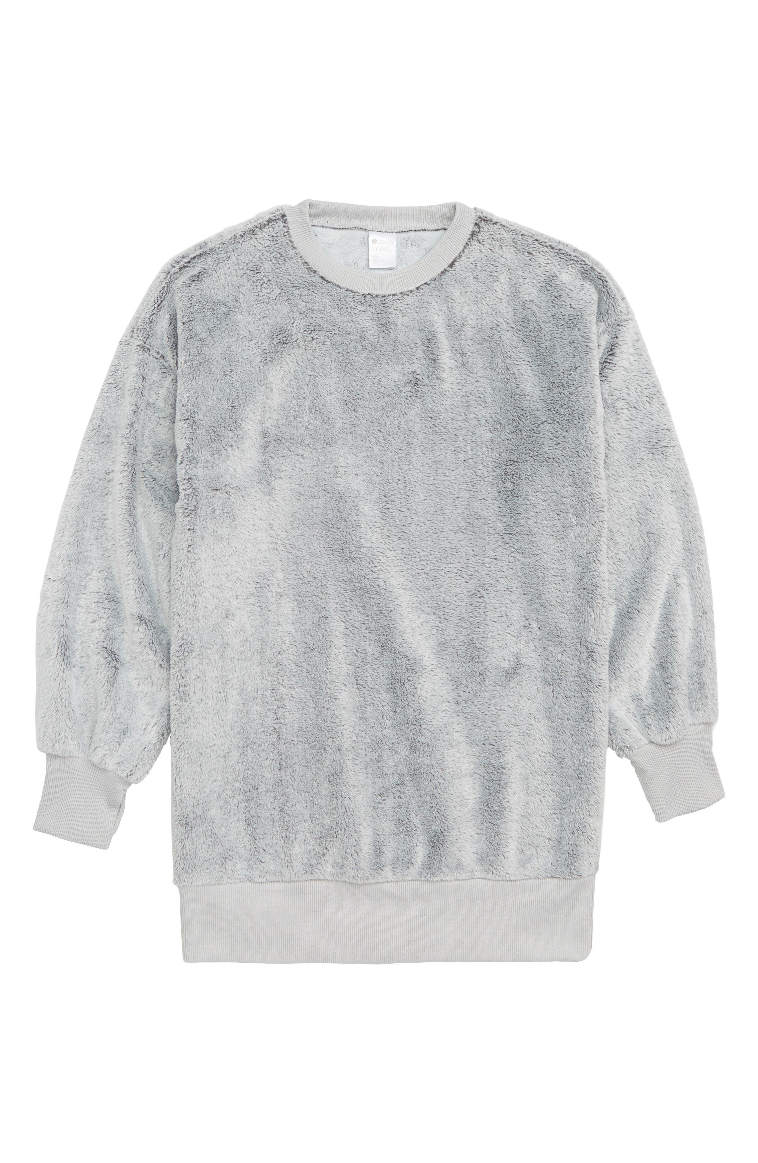 ZELLA GIRL Faux Fur Tunic Top, Main, color, 030