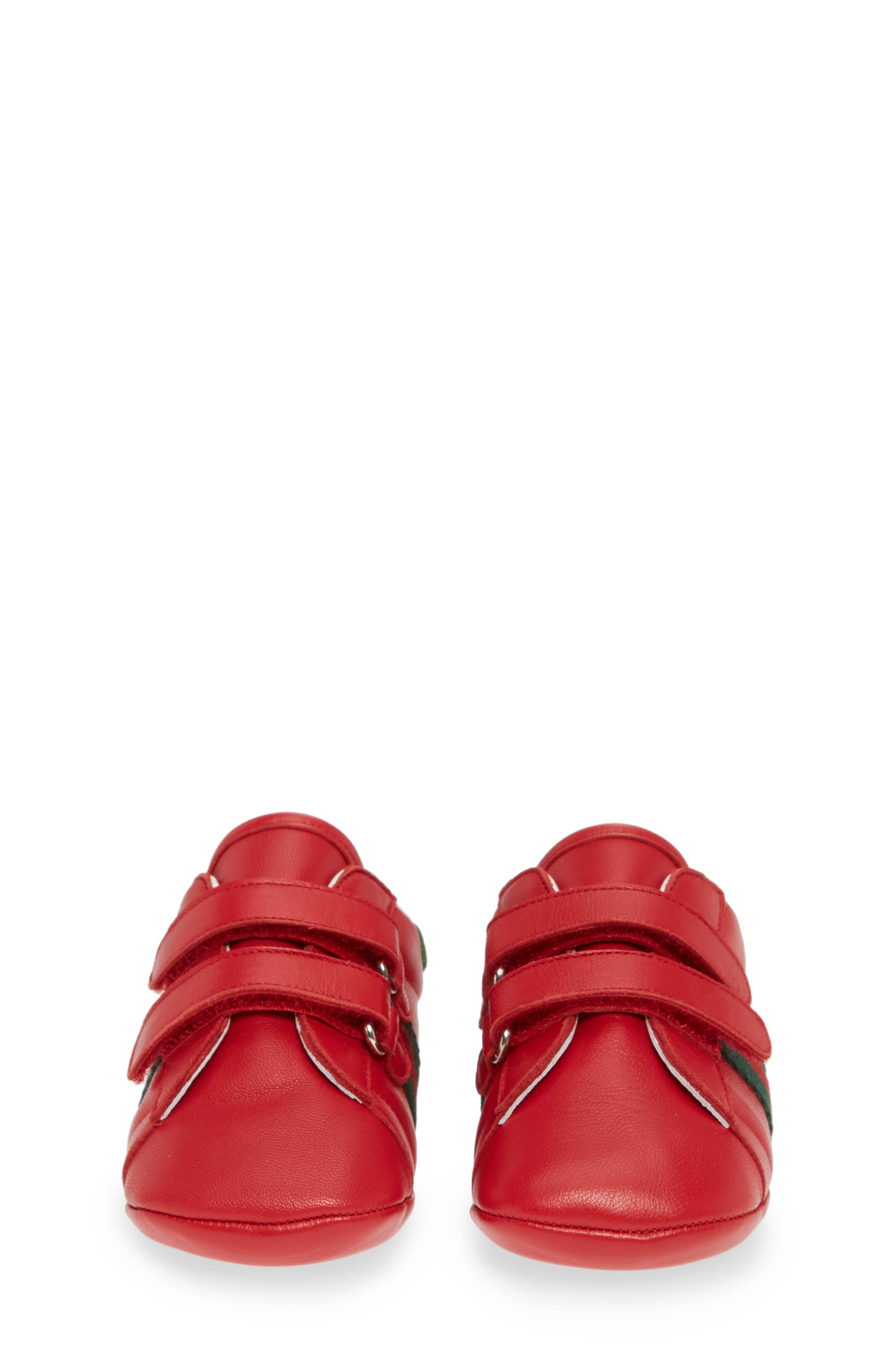 GUCCI,                             Ace Crib Shoe,                             Alternate thumbnail 5, color,                             RED