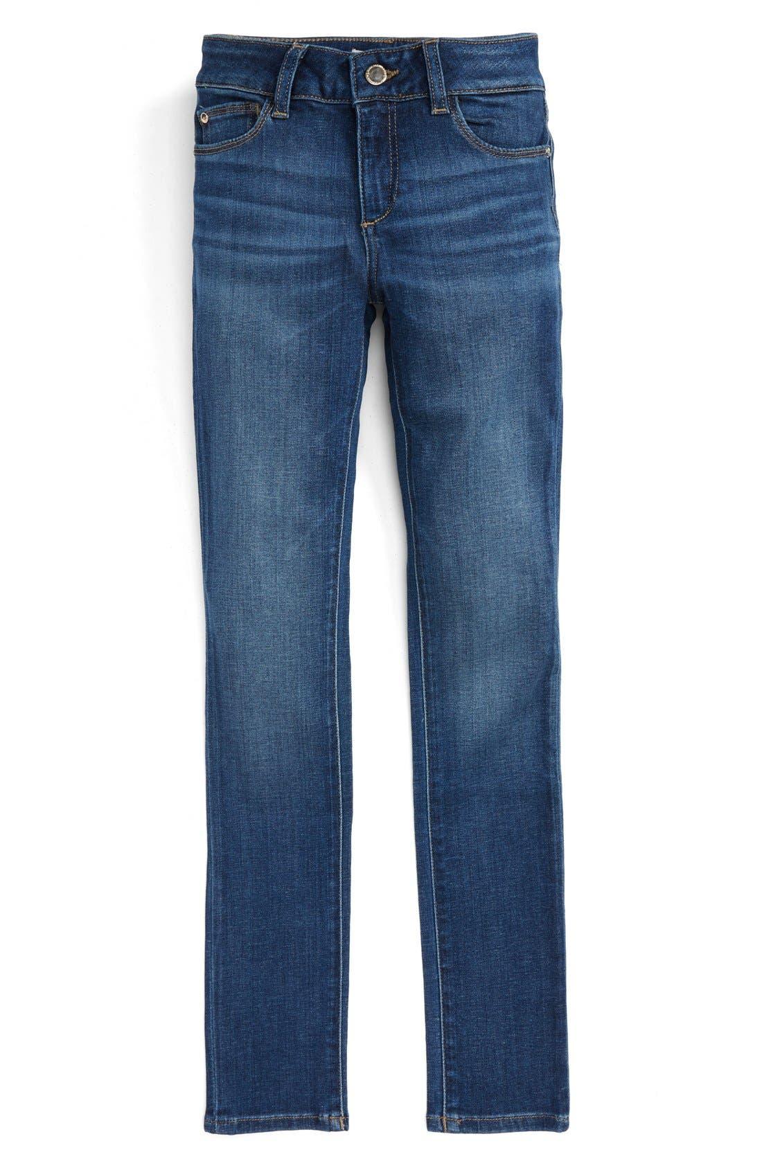 DL1961,                             Chloe Mid Rise Skinny Jeans,                             Main thumbnail 1, color,                             PARULA