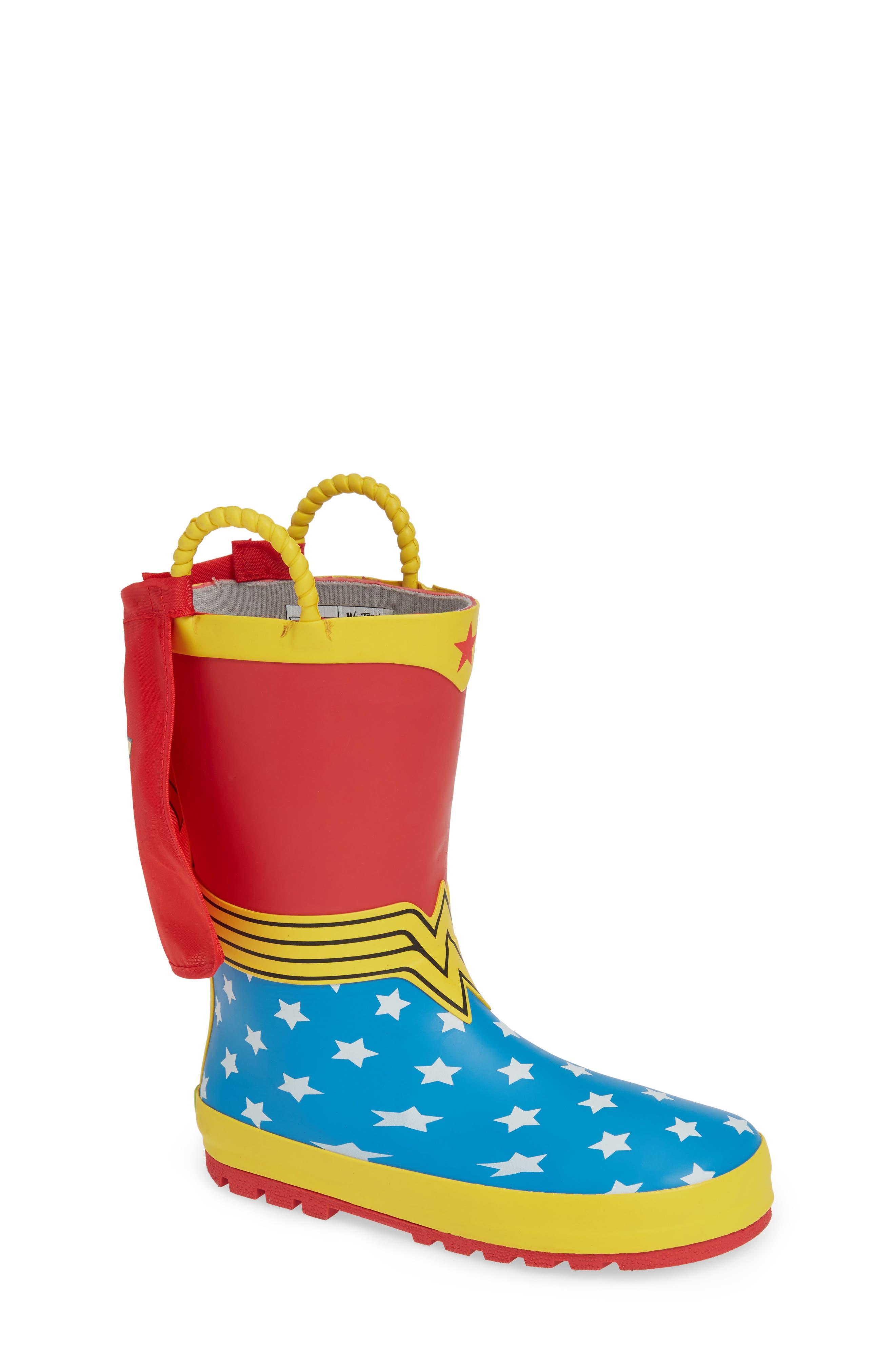 WESTERN CHIEF,                             Wonder Woman Waterproof Rain Boot,                             Main thumbnail 1, color,                             RED