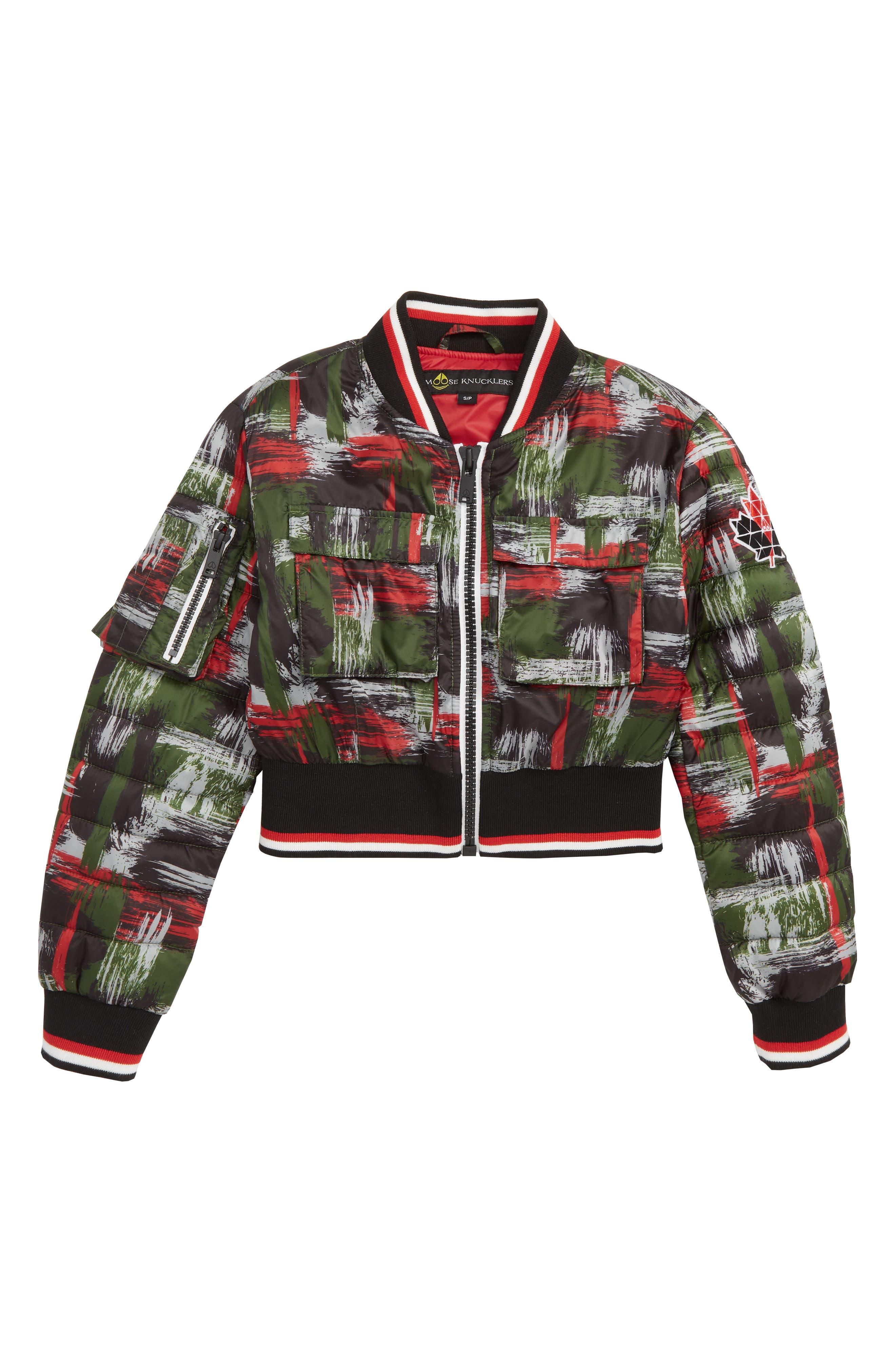 MOOSE KNUCKLES,                             Laurier Bomber Jacket,                             Main thumbnail 1, color,                             RED/ GREEN CAMO